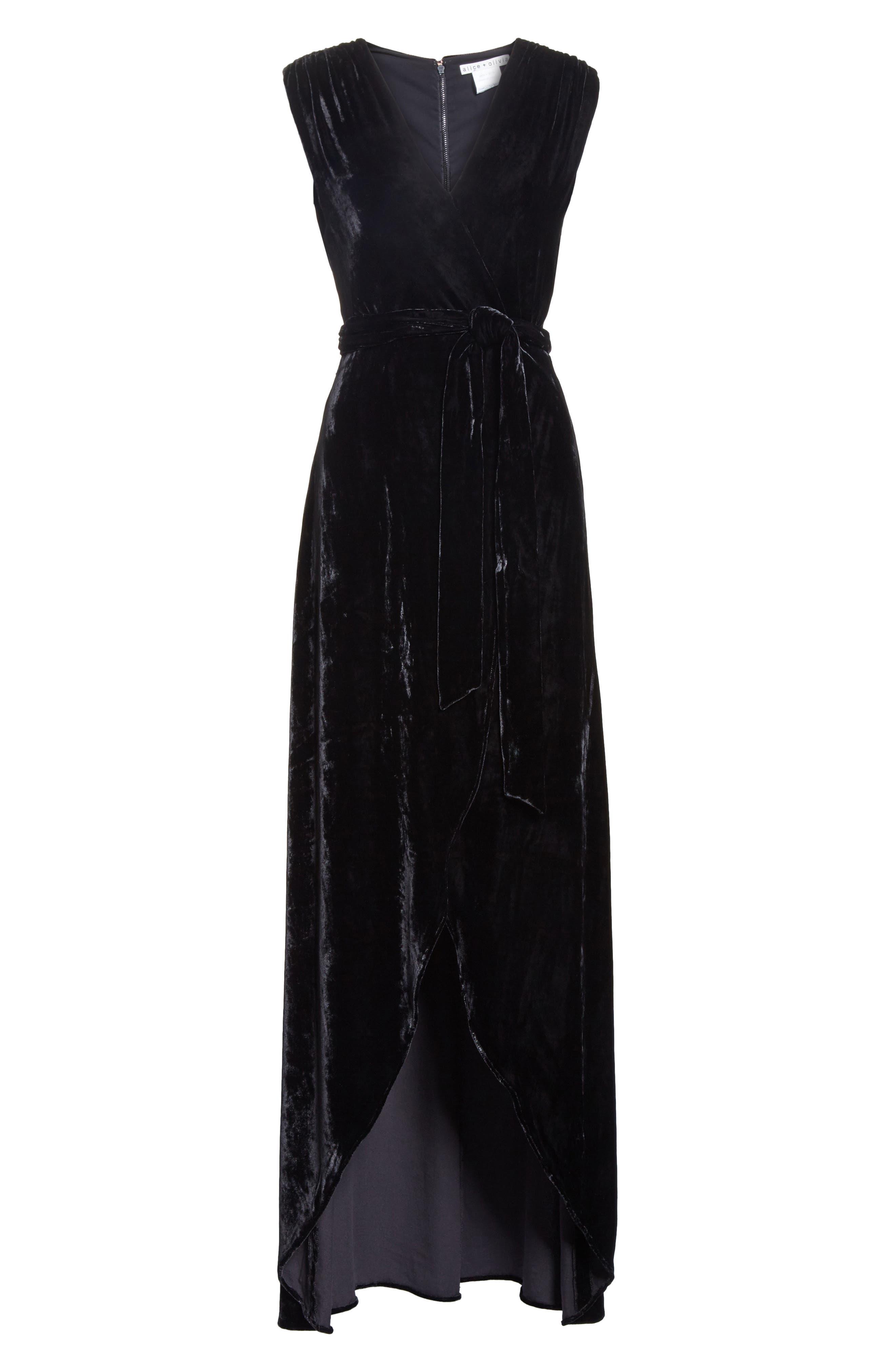 Simmons Velvet Wrap Maxi Dress,                             Alternate thumbnail 6, color,                             Black