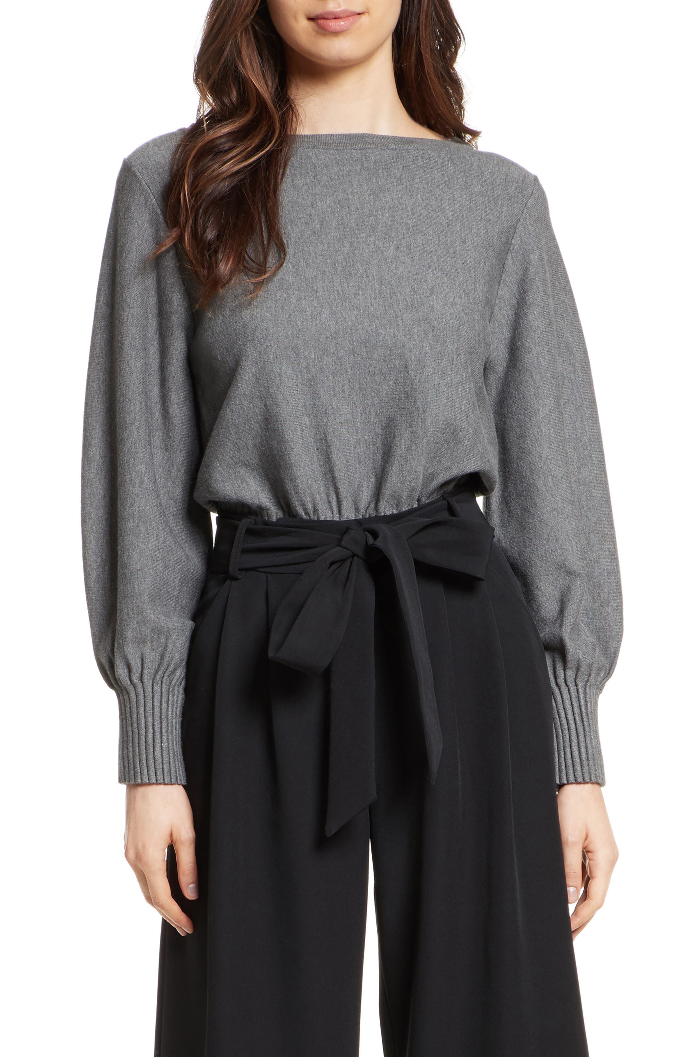 Couture Pintuck Pullover,                         Main,                         color, Heather Grey