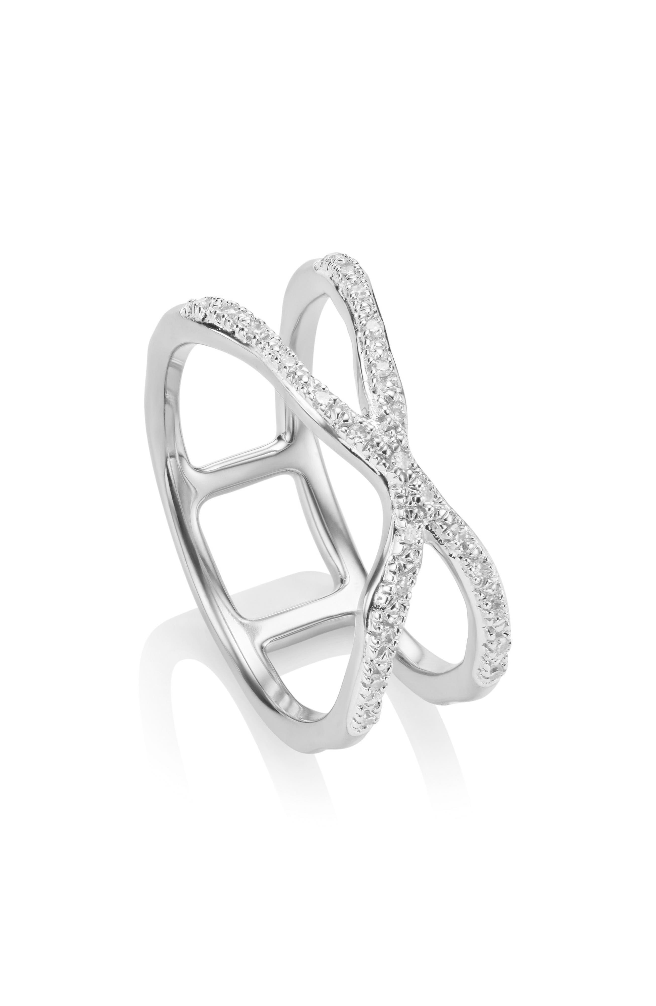 Riva Diamond Ring,                             Alternate thumbnail 3, color,                             Silver/ Diamond