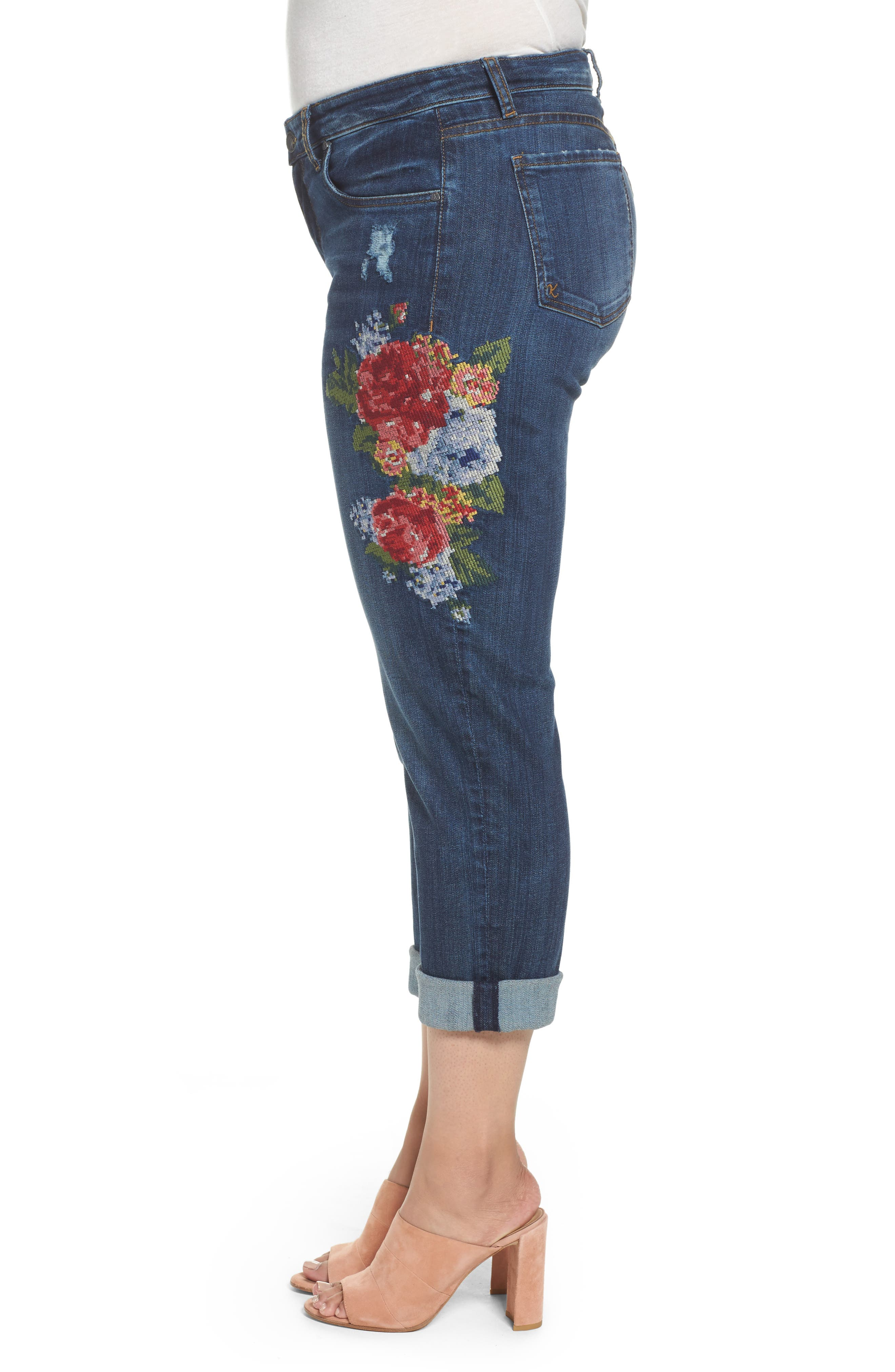 Alternate Image 4  - KUT from the Kloth Catherine Embroidered Boyfriend Jeans (Premier Dark) (Plus Size)