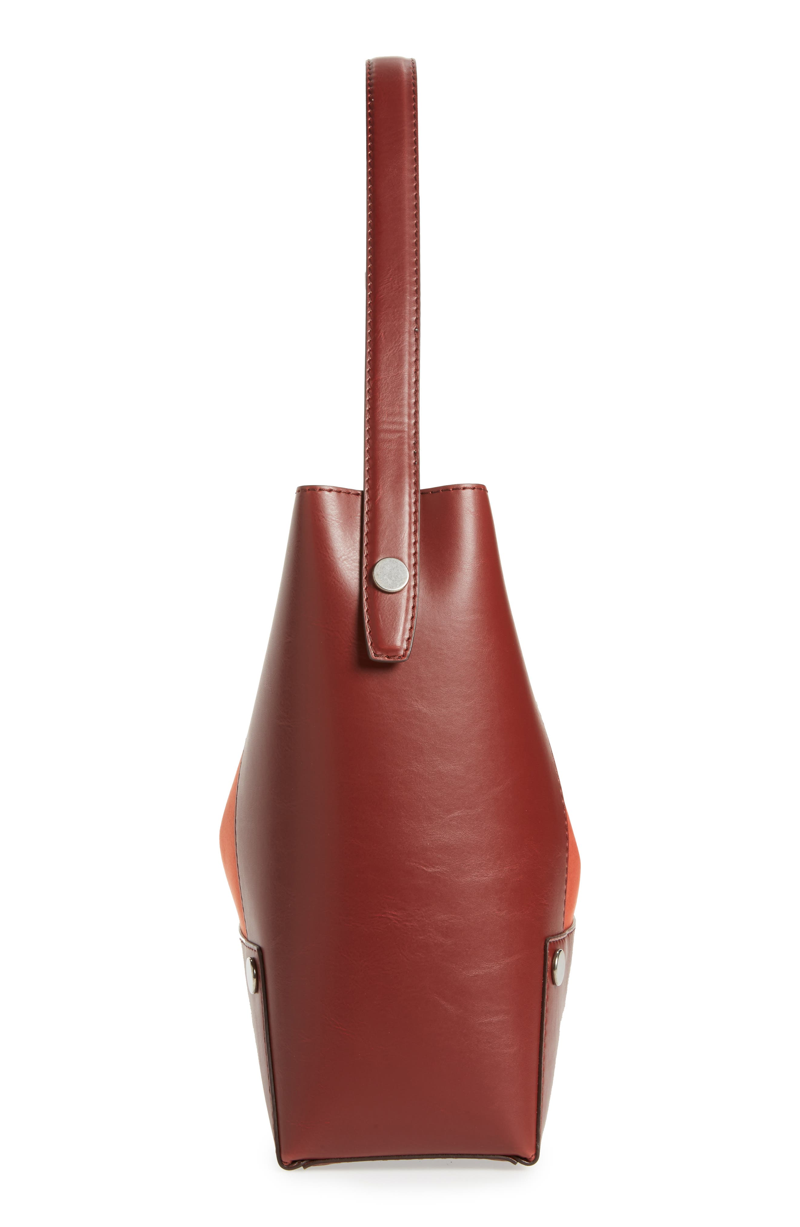 Small Faux Leather Bucket Bag,                             Alternate thumbnail 4, color,                             Henna