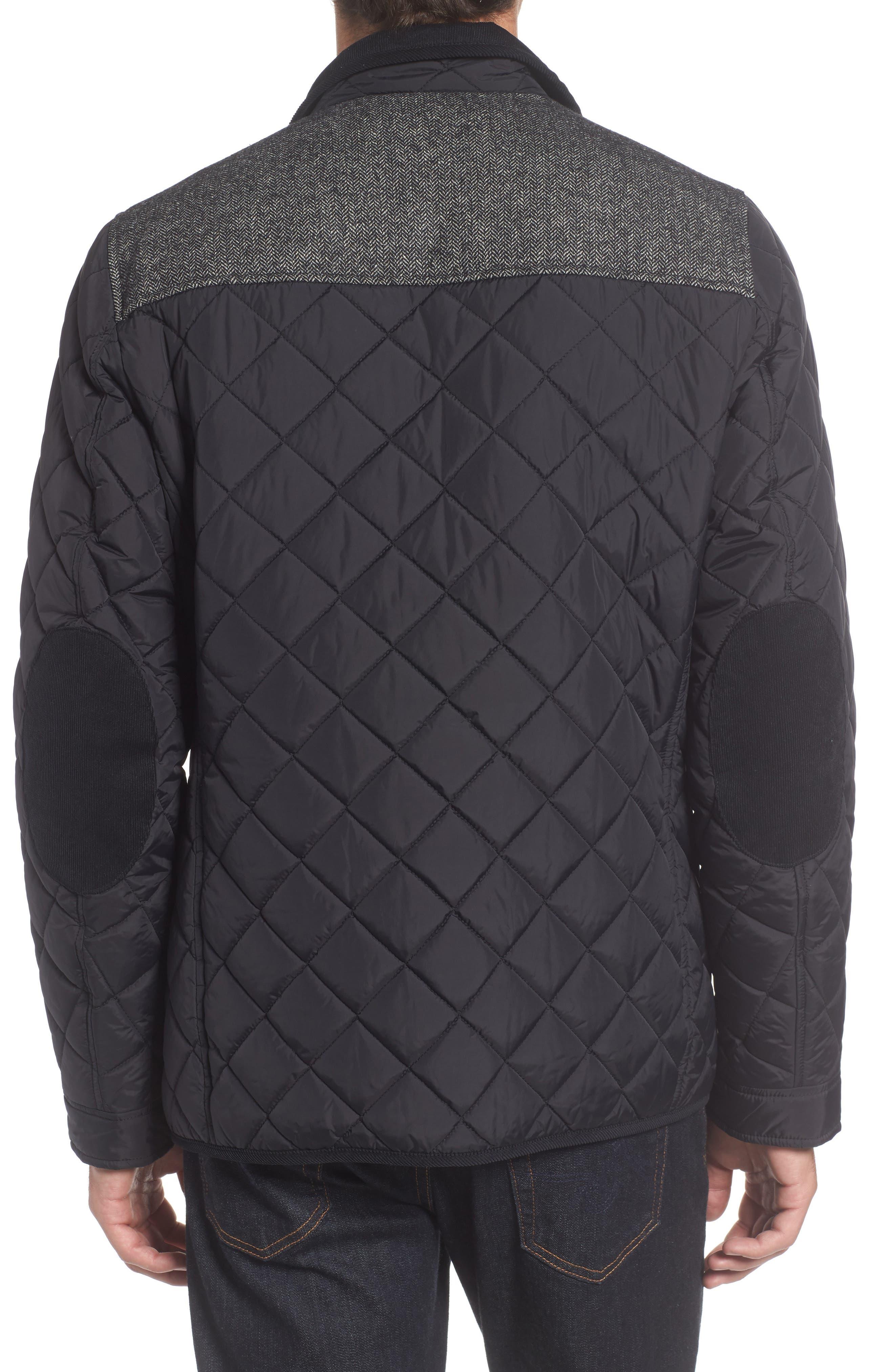 Diamond Quilted Full Zip Jacket,                             Alternate thumbnail 2, color,                             Black