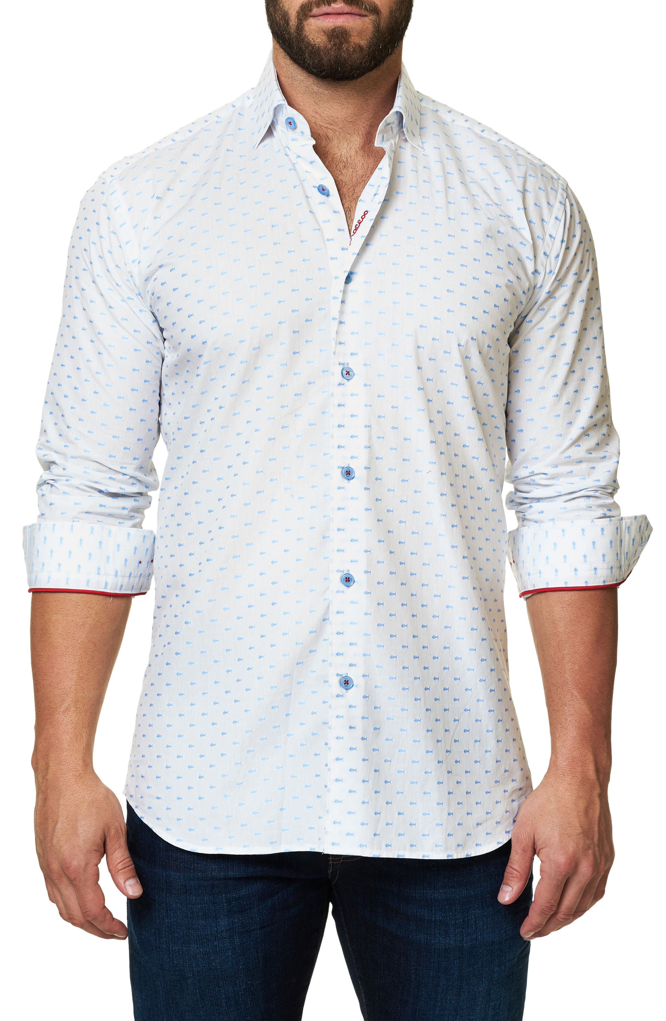 Trim Fit Fish Print Sport Shirt,                         Main,                         color, White