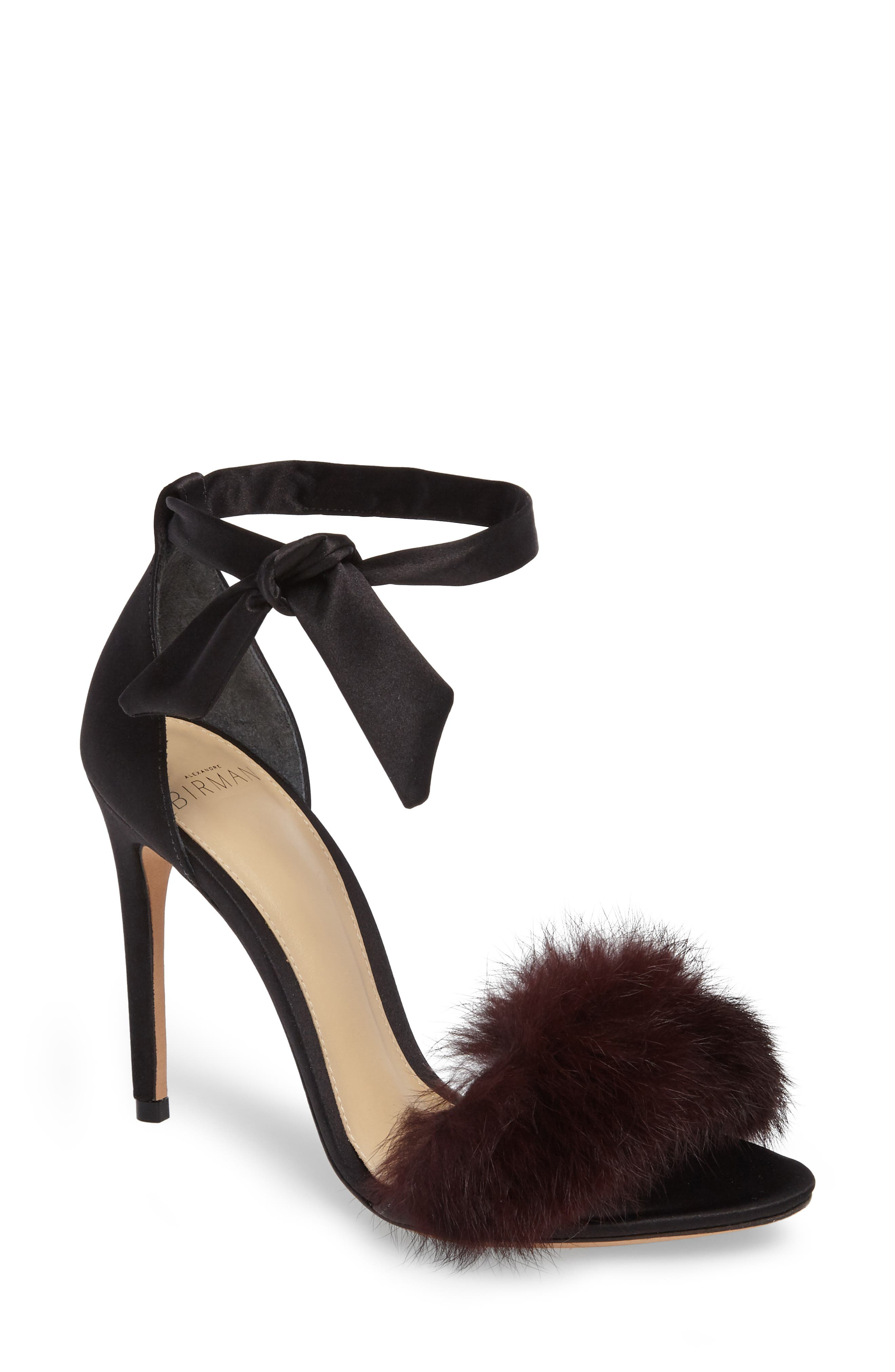 Alternate Image 1 Selected - Alexandre Birman Clarita Genuine Rabbit Fur Sandal (Women)