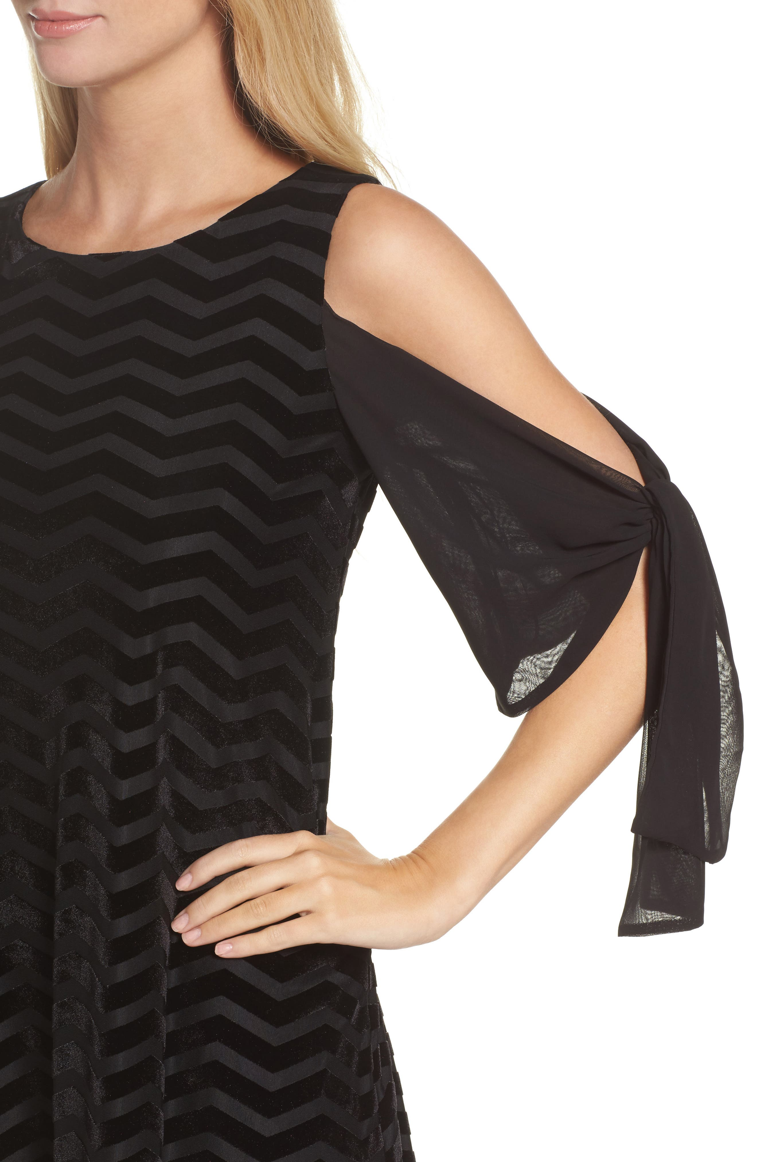Alternate Image 4  - Taylor Dresses Chiffon Sleeve Velvet Burnout Shift Dress
