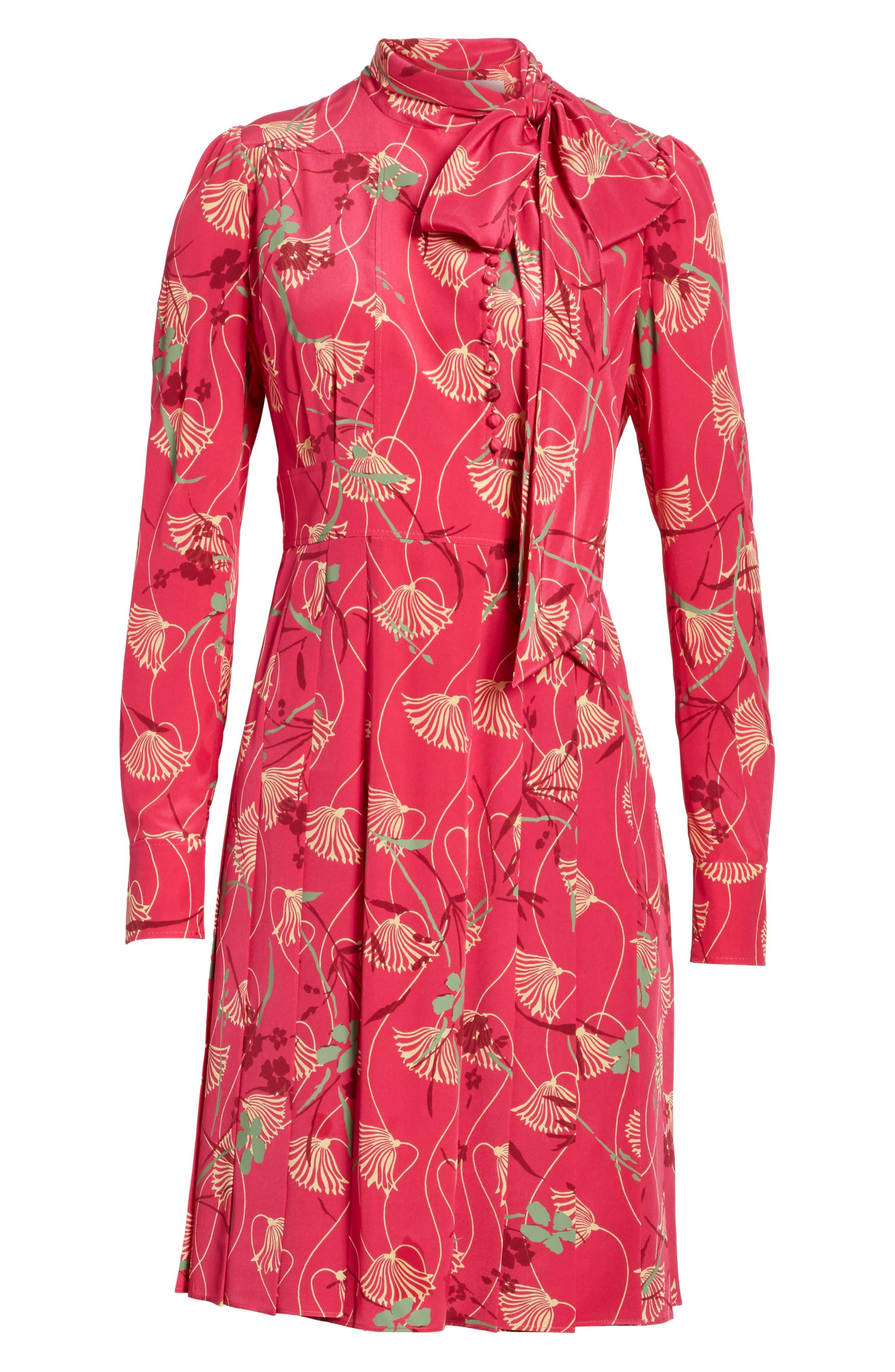 Alternate Image 6  - Valentino Lotus Print Silk Tie Neck Dress