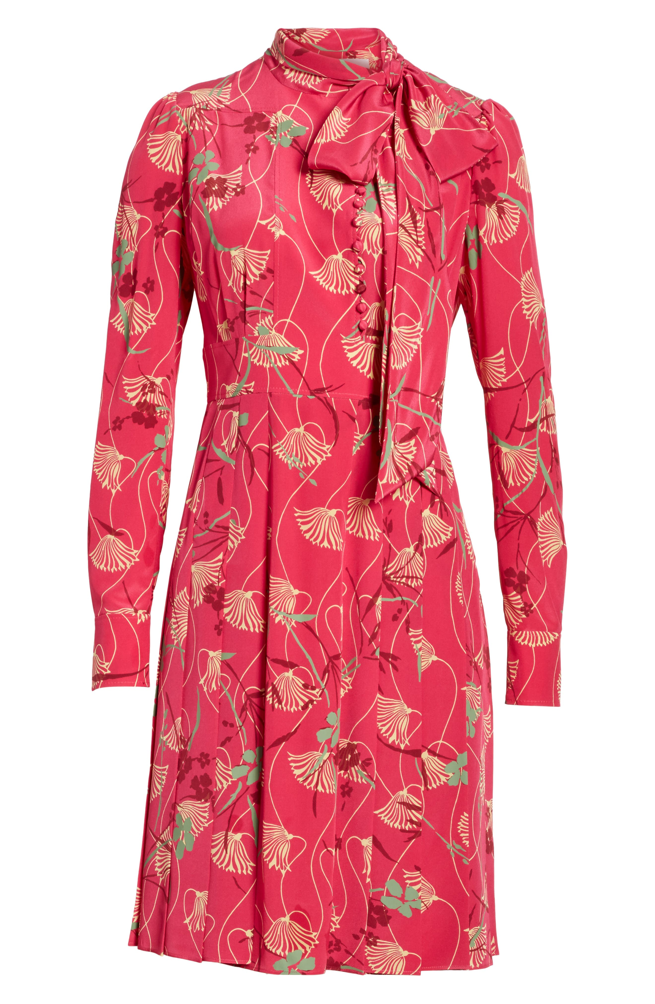 Lotus Print Silk Tie Neck Dress,                             Alternate thumbnail 7, color,                             Pink