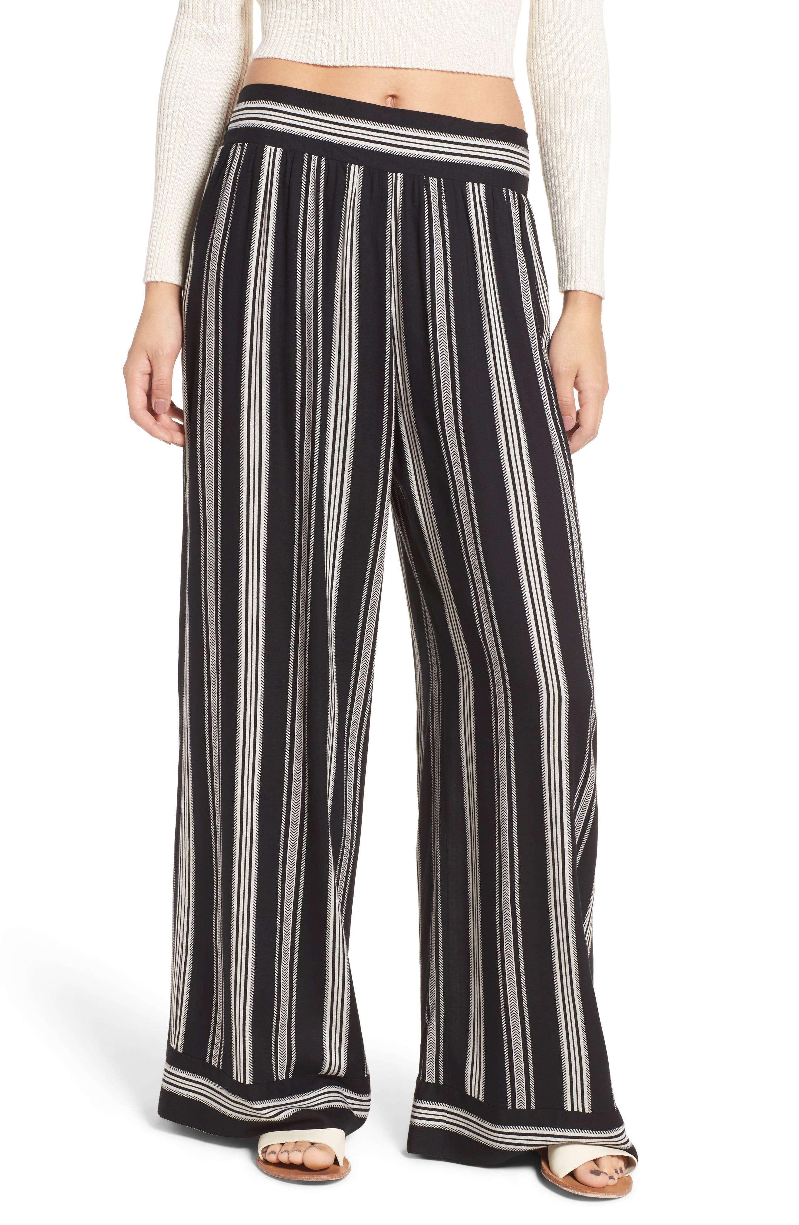 Herringbone Wide Leg Pants,                         Main,                         color, 887R-Black/ Ivory