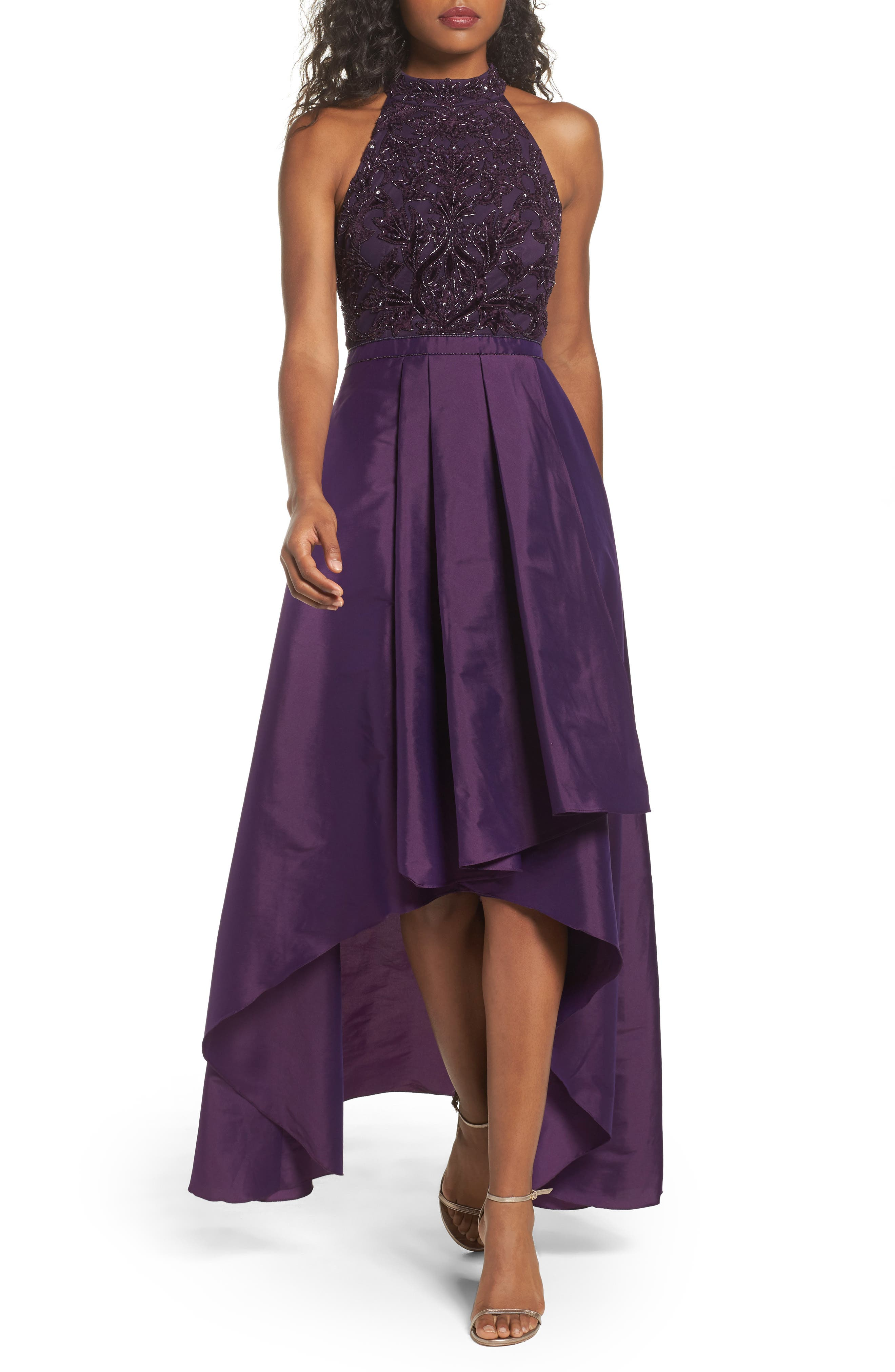Adrianna Papell Embellished Taffeta High/Low Gown