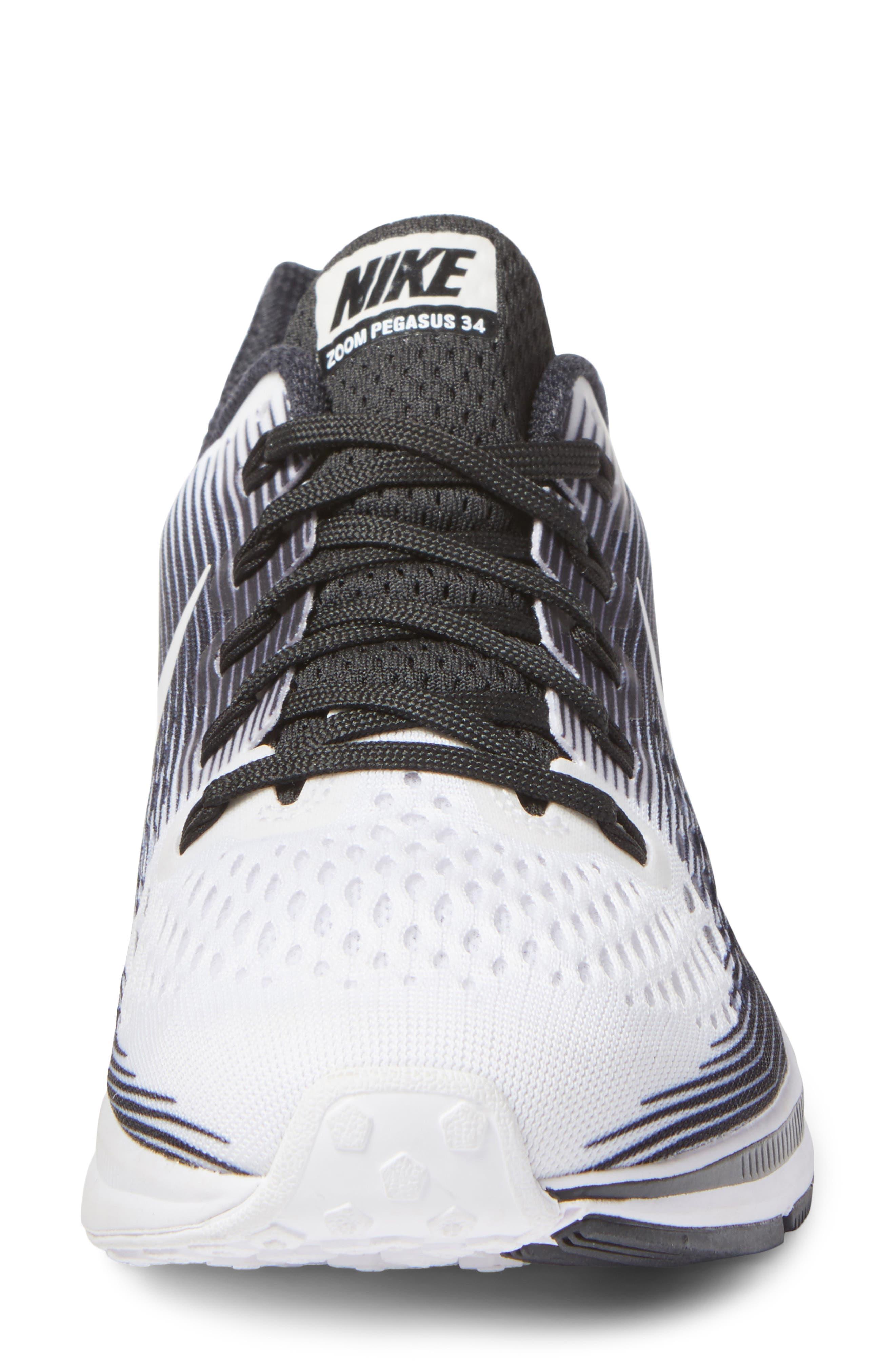 Air Zoom Pegasus 34 LE Running Shoe,                             Alternate thumbnail 5, color,                             White/ White/ Black