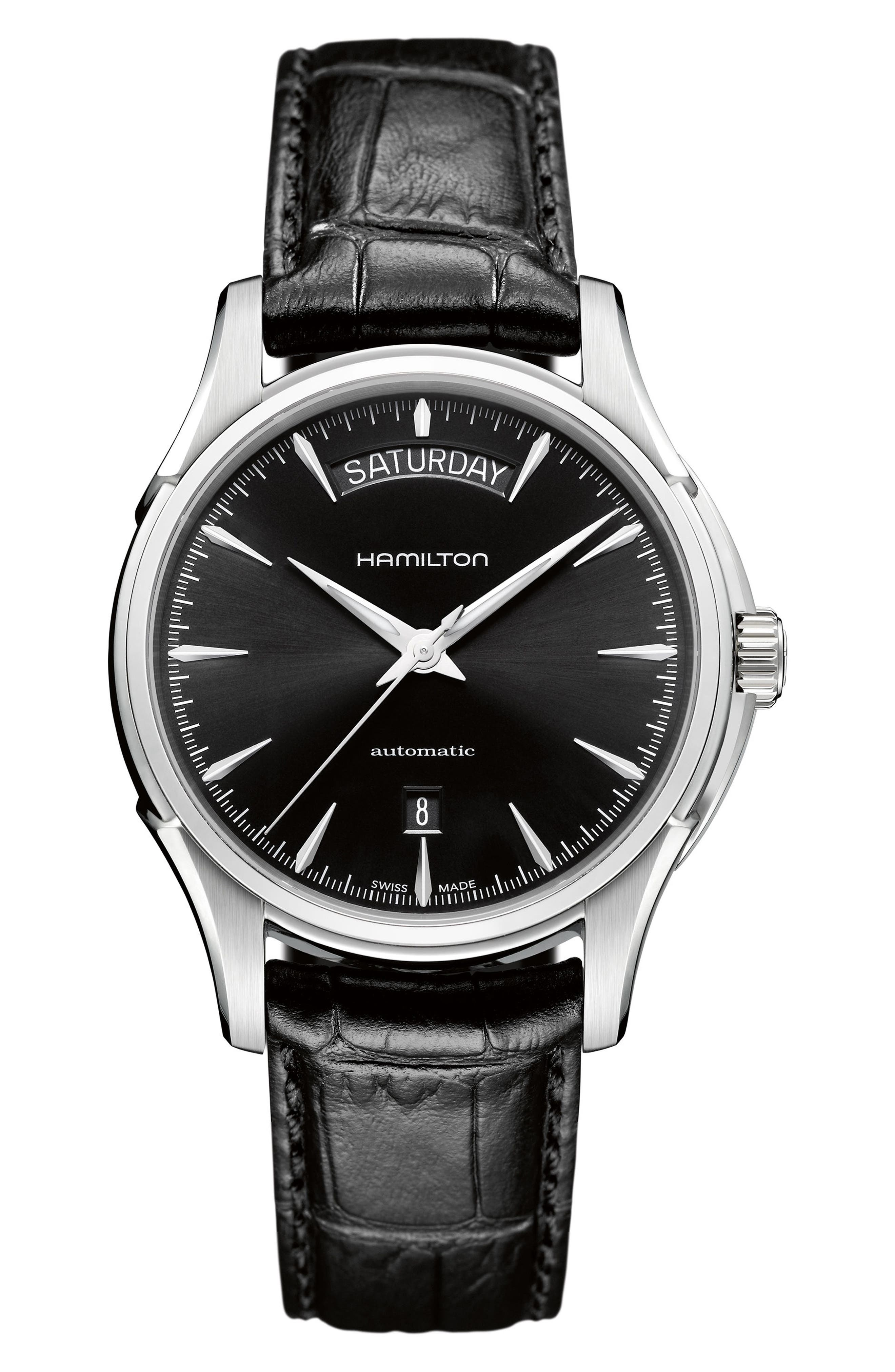 Main Image - Hamilton Jazzmaster Automatic Leather Strap Watch, 40mm