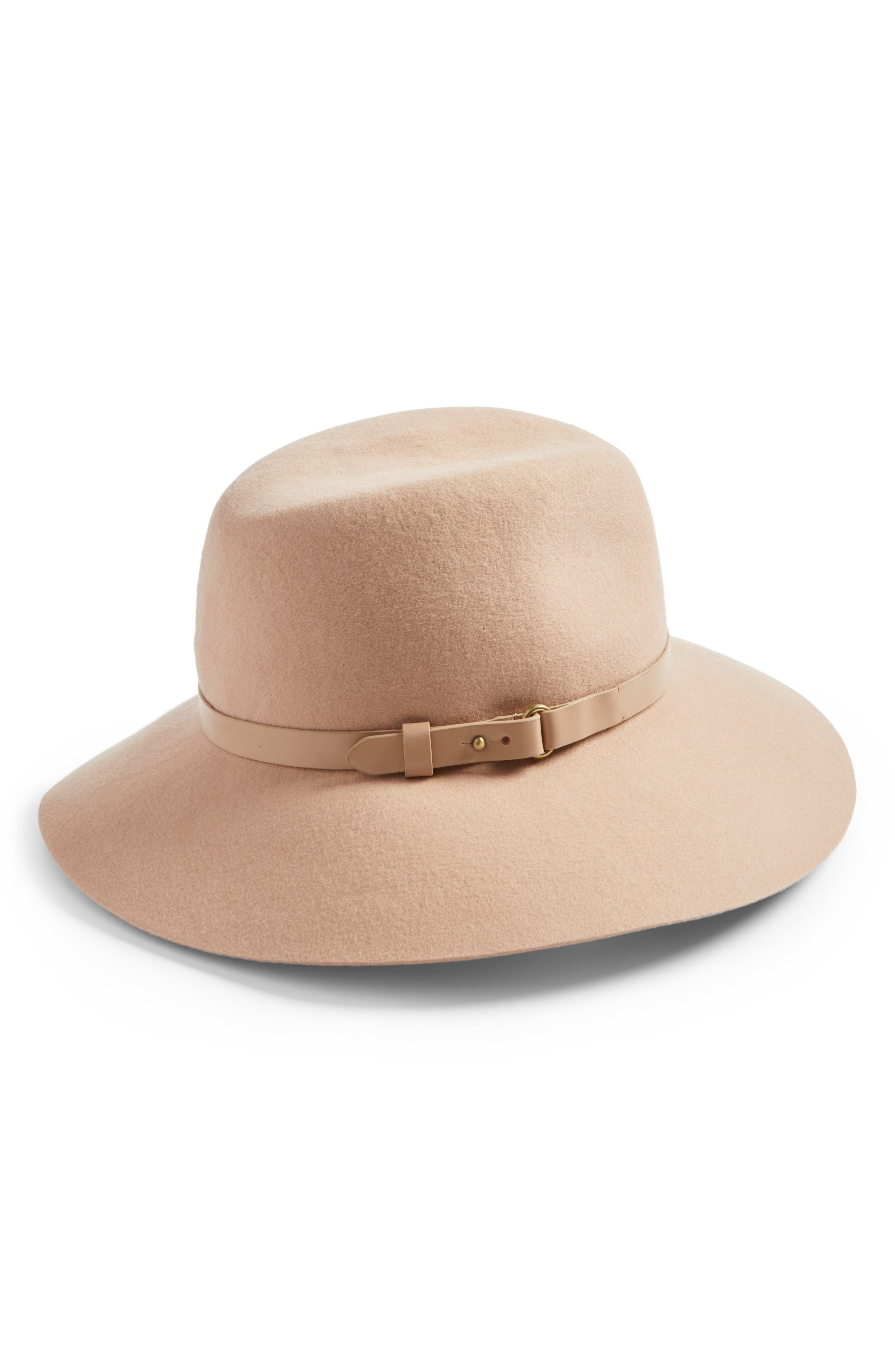 'Fanny' Water Repellent Wool Fedora,                         Main,                         color, Tawny