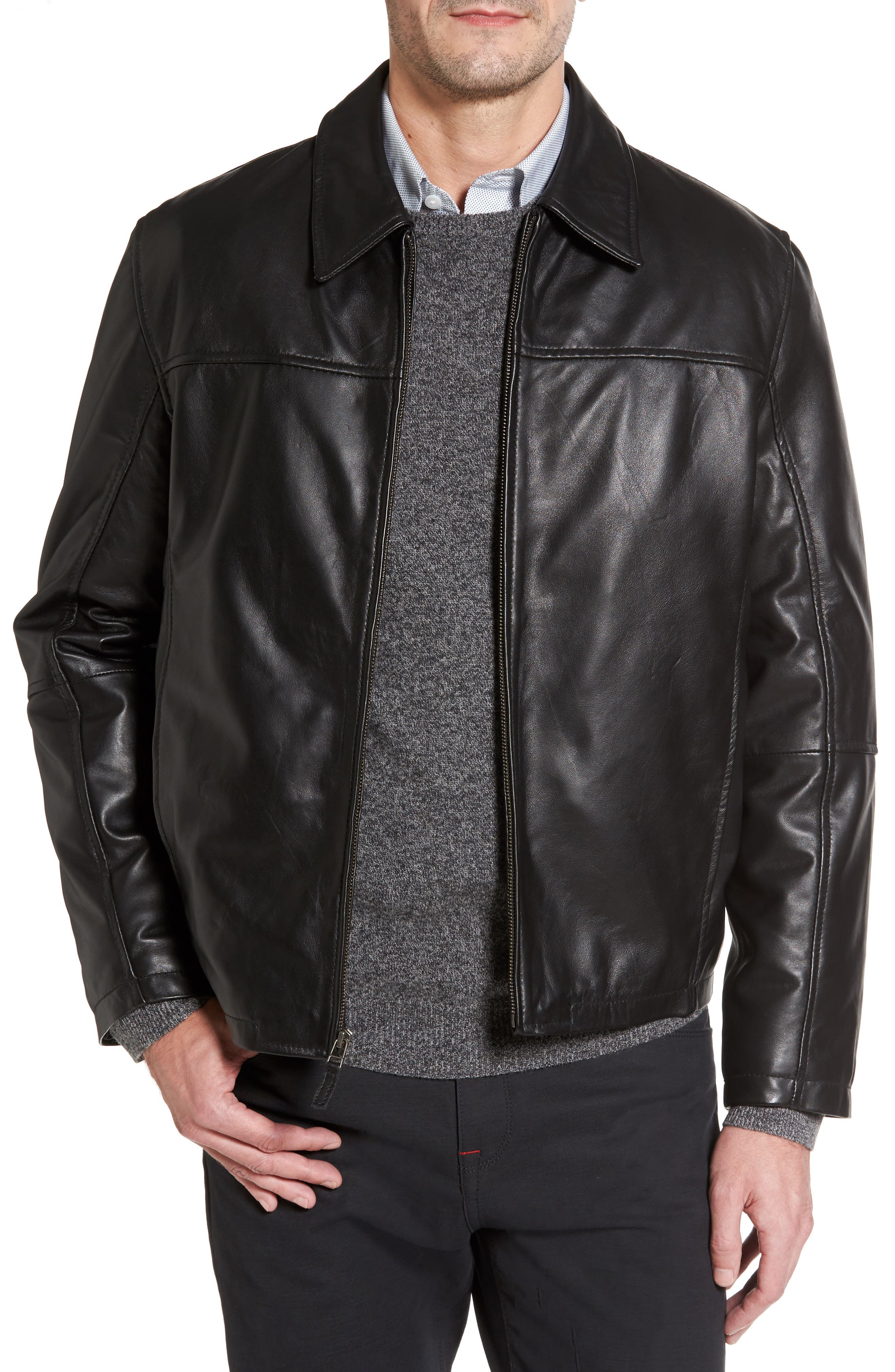 Alternate Image 1 Selected - Missani Le Collezioni Collared Leather Jacket