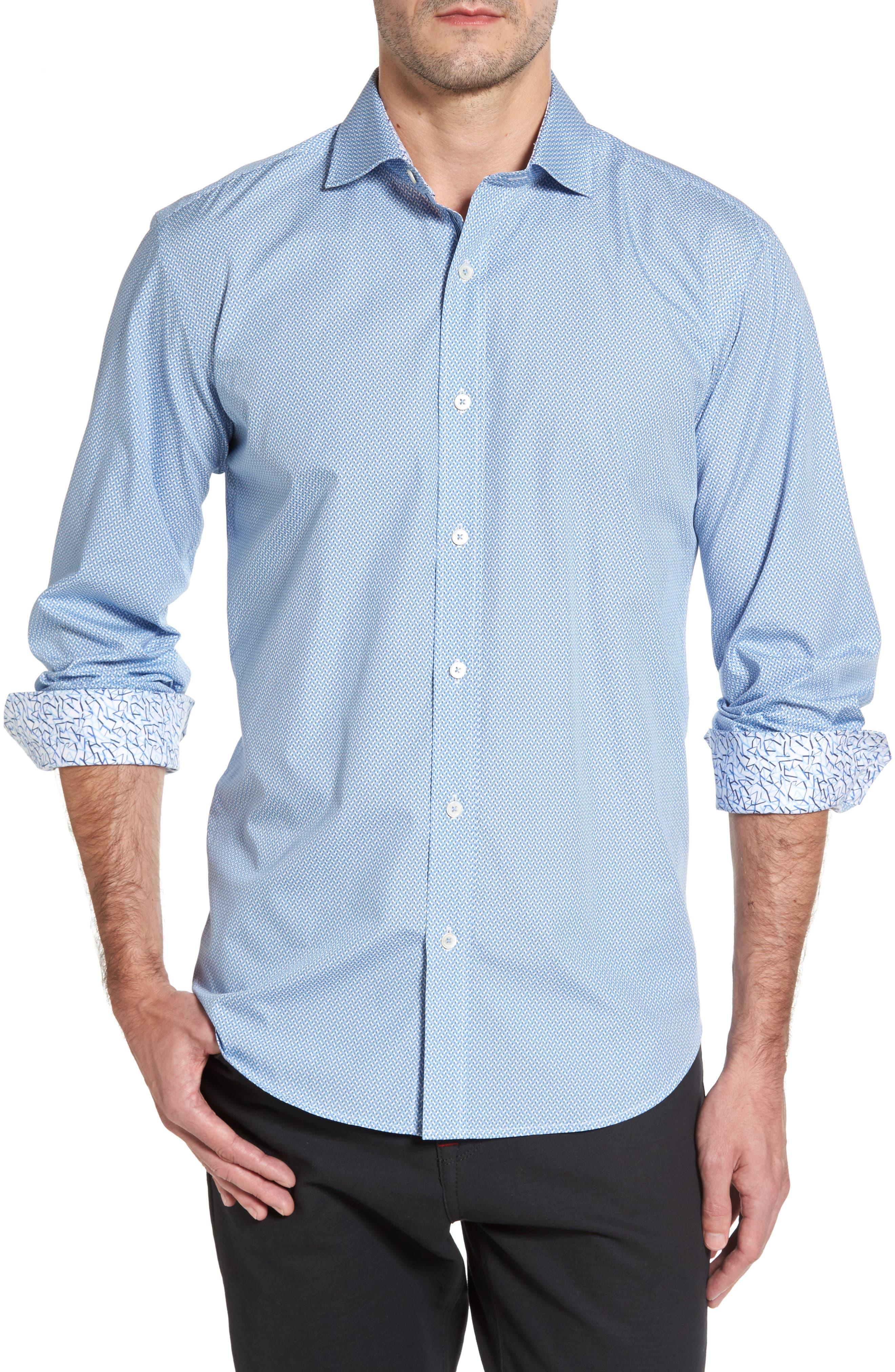 Shaped Fit Print Sport Shirt,                         Main,                         color, Air Blue