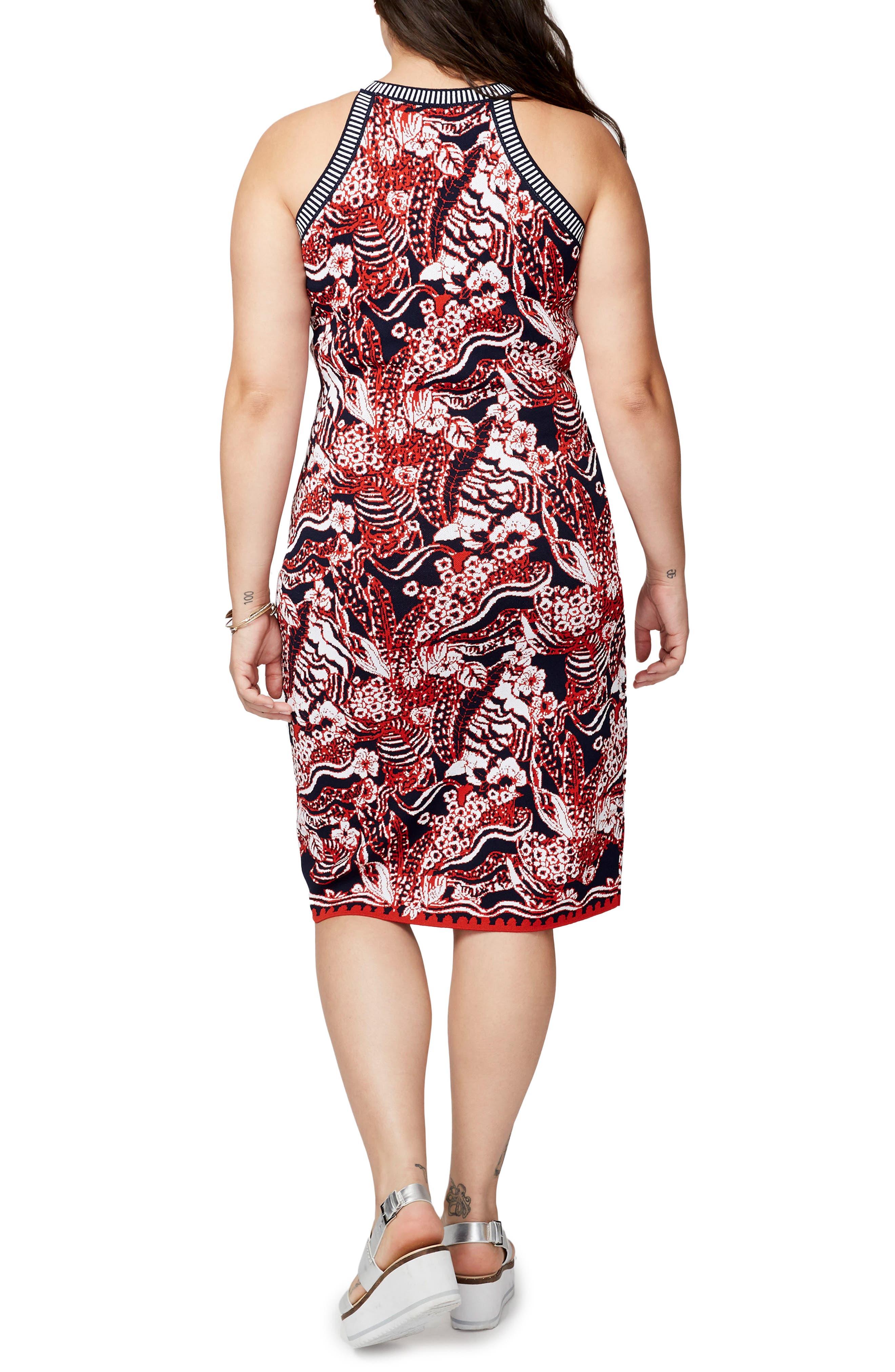 Alternate Image 3  - RACHEL Rachel Roy Floral Jacquard Halter Neck Sweater Dress (Plus Size)