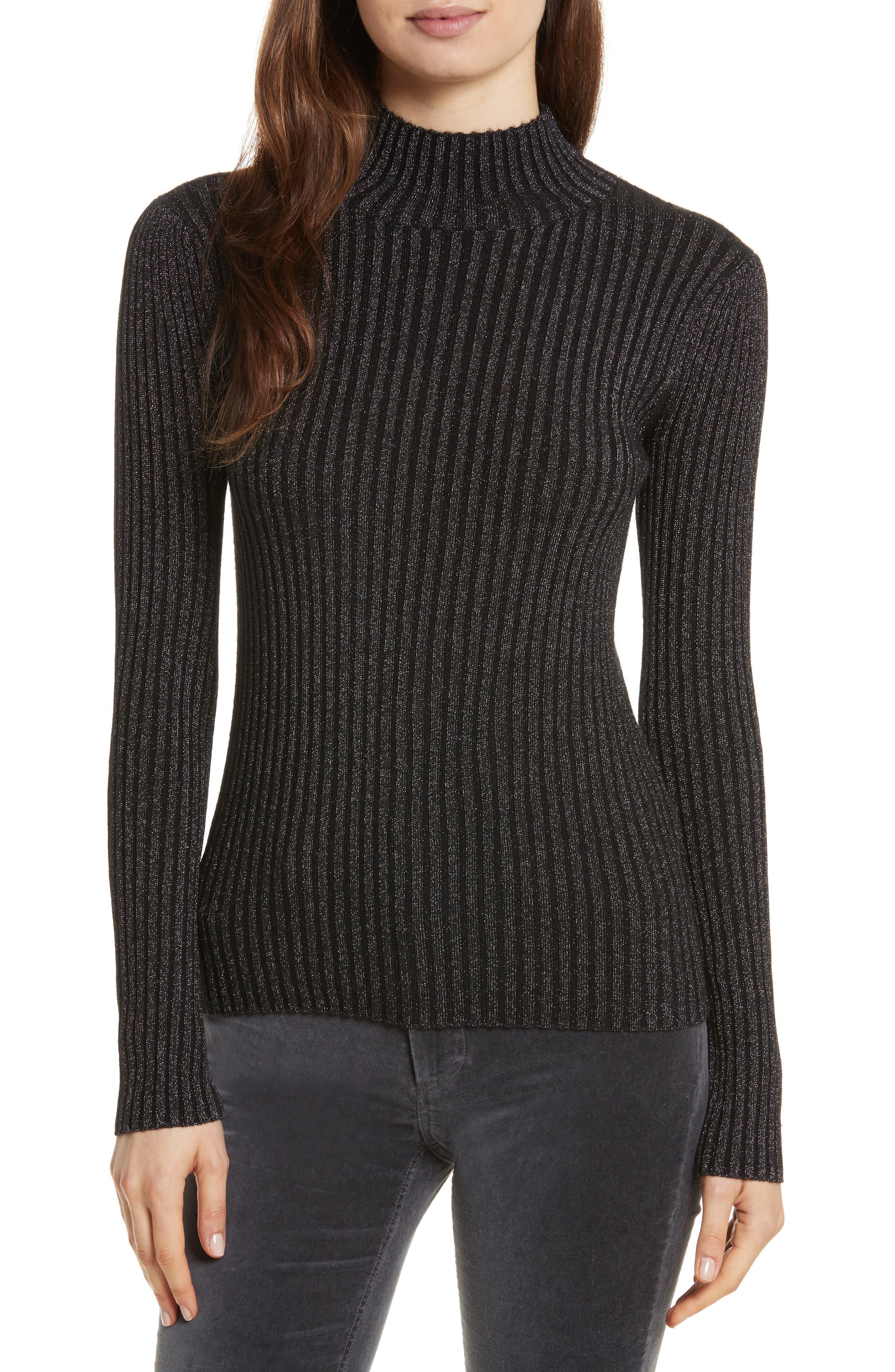 Rib Turtleneck Pullover,                         Main,                         color, Black