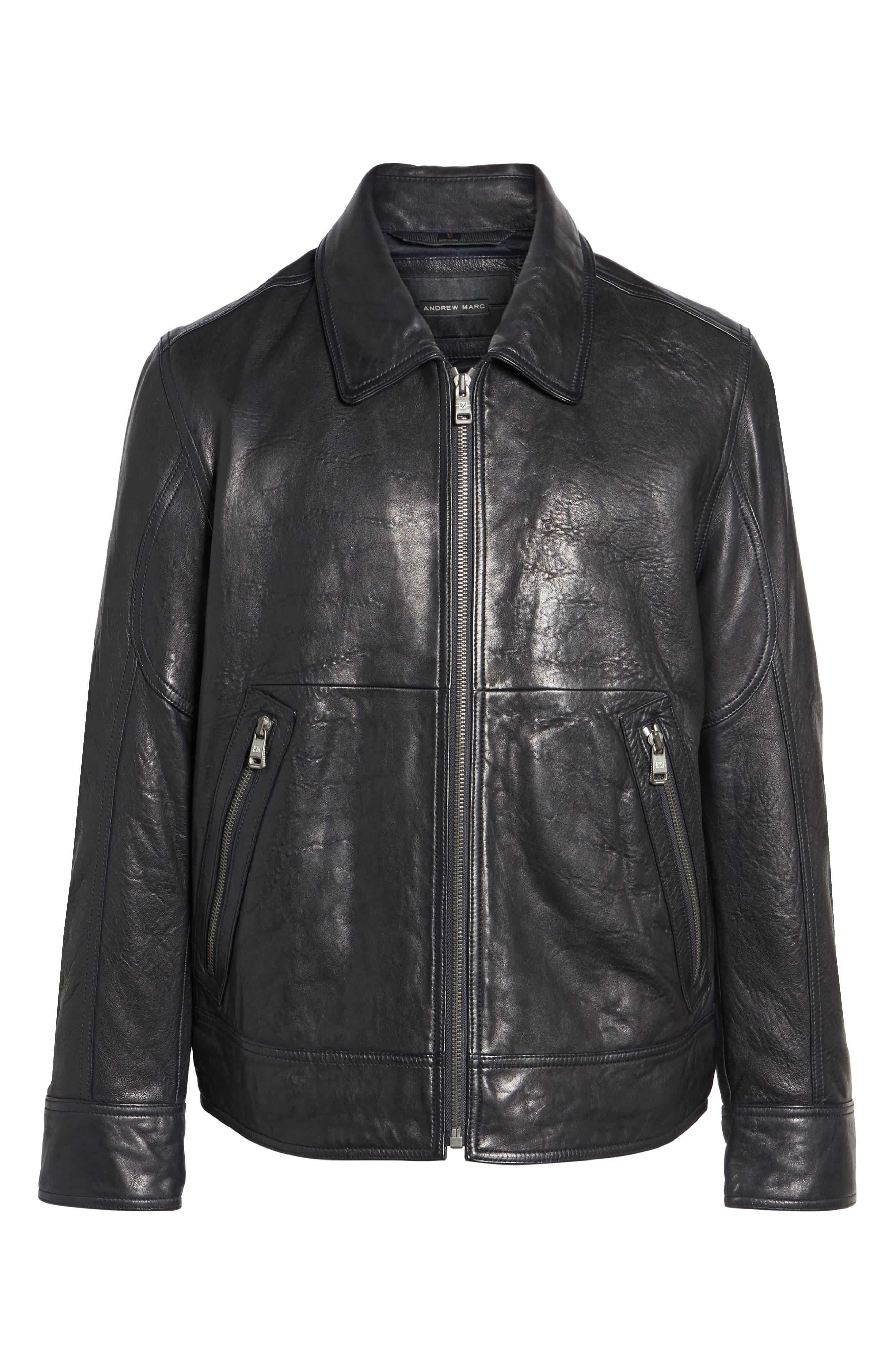 Morrison Spread Collar Leather Jacket,                             Alternate thumbnail 5, color,                             Ink