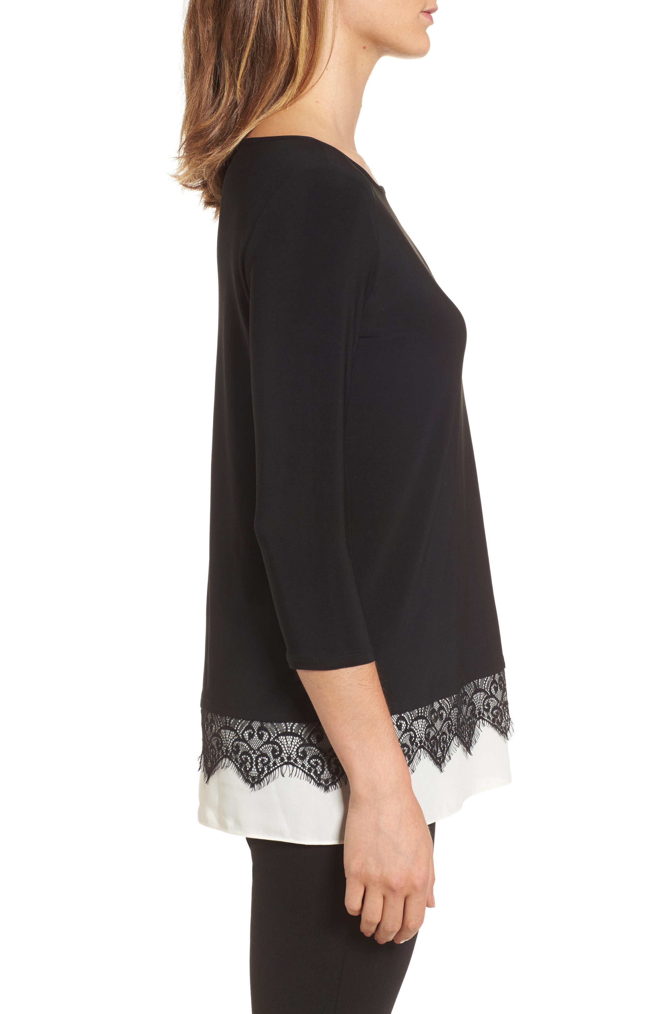 Alternate Image 3  - Chaus Lace Trim Knit Top
