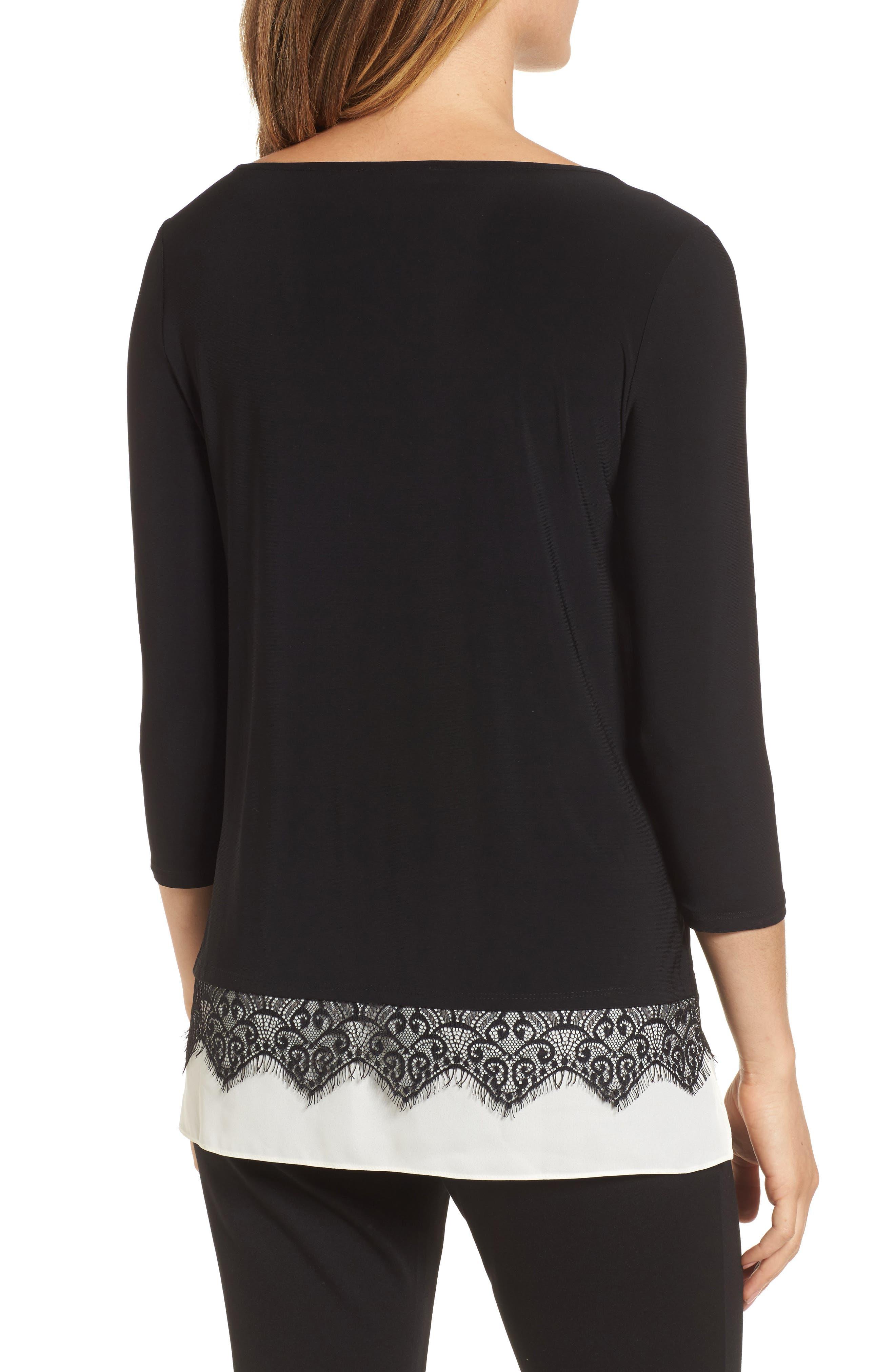 Alternate Image 2  - Chaus Lace Trim Knit Top