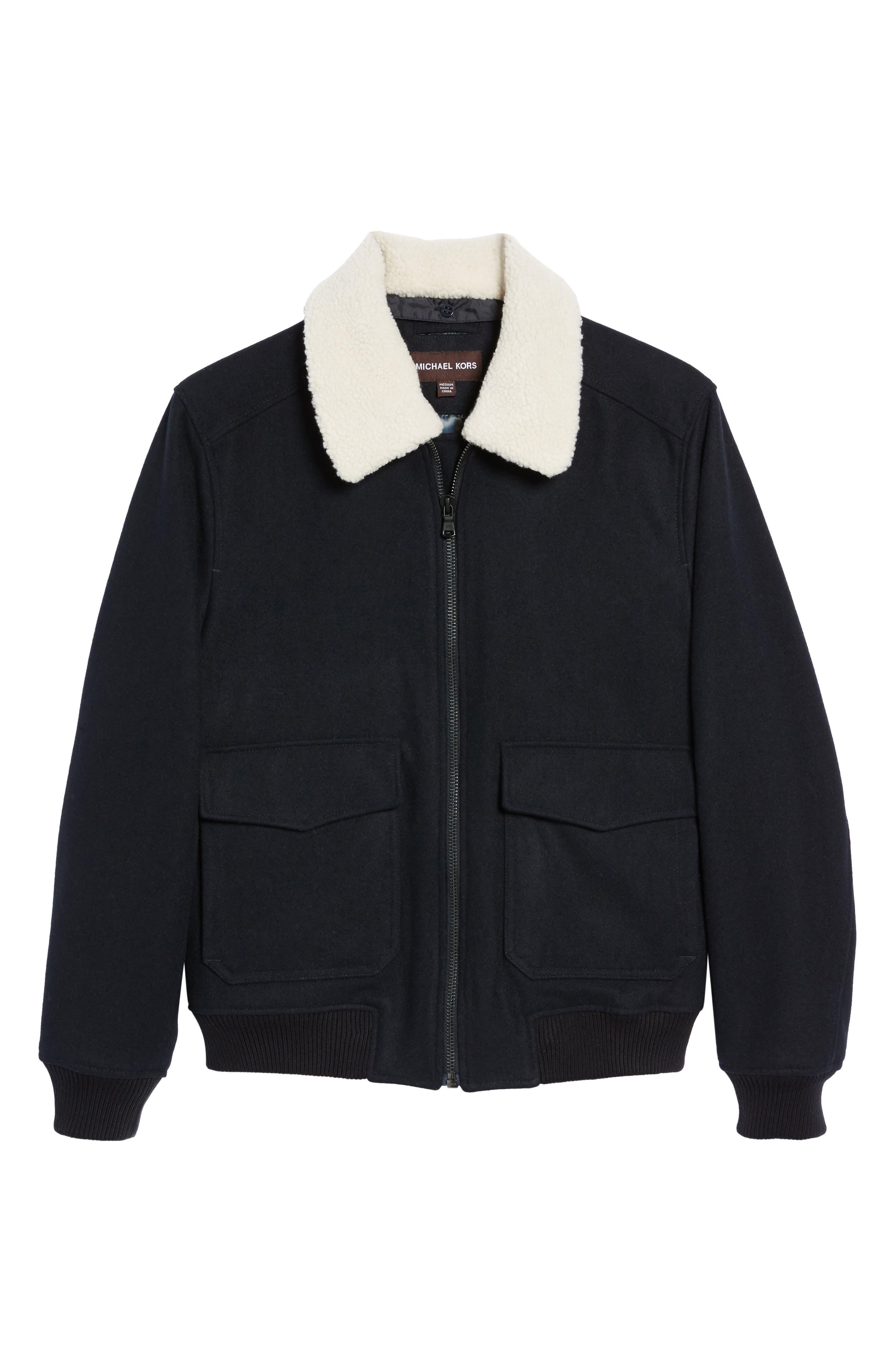 Fleece Collar Wool Blend A-2 Jacket,                             Alternate thumbnail 6, color,                             Officer Navy
