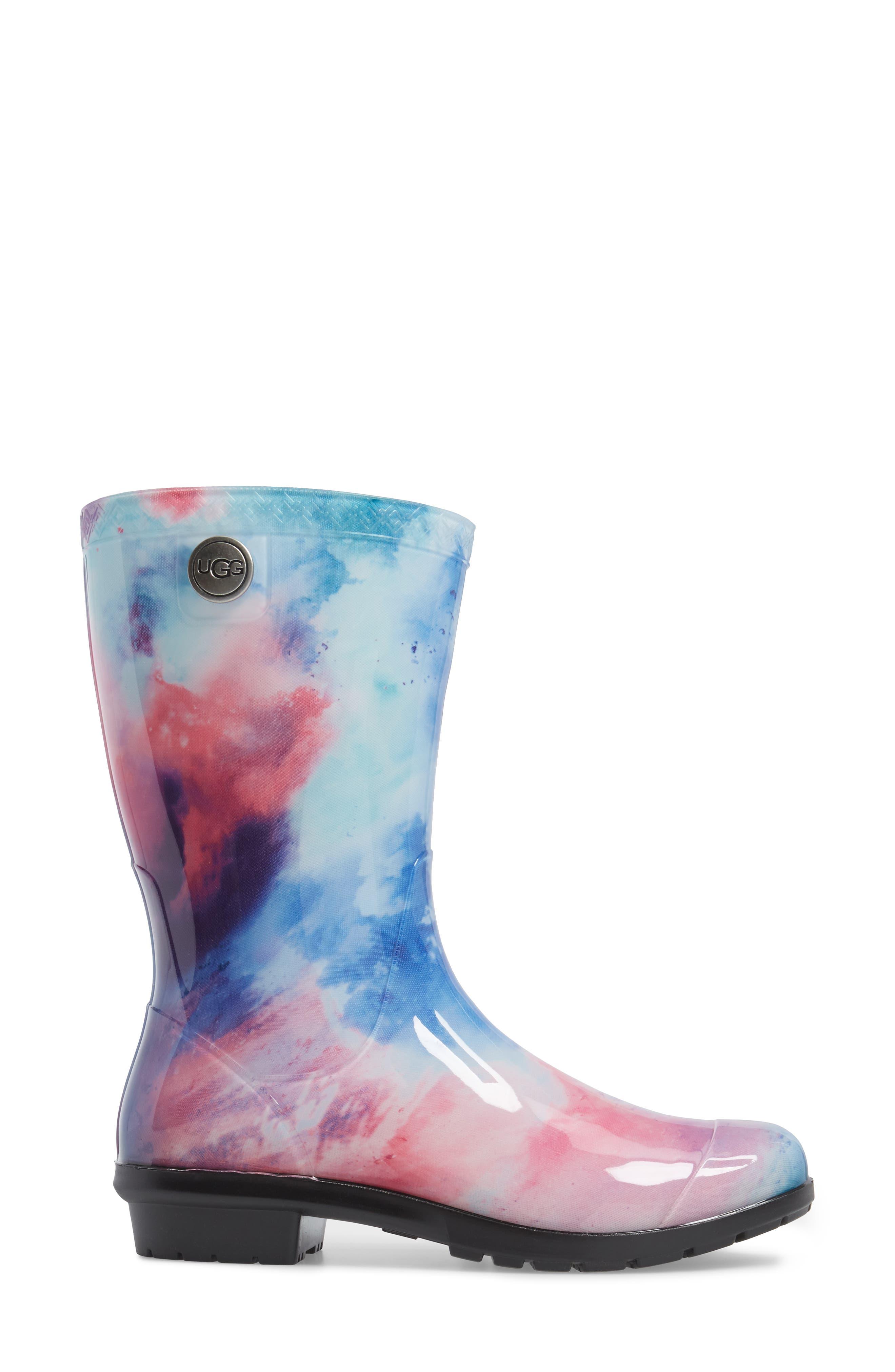 Sienna Watercolor Waterproof Rain Boot,                             Alternate thumbnail 3, color,                             Wild Rose/ Waterfall