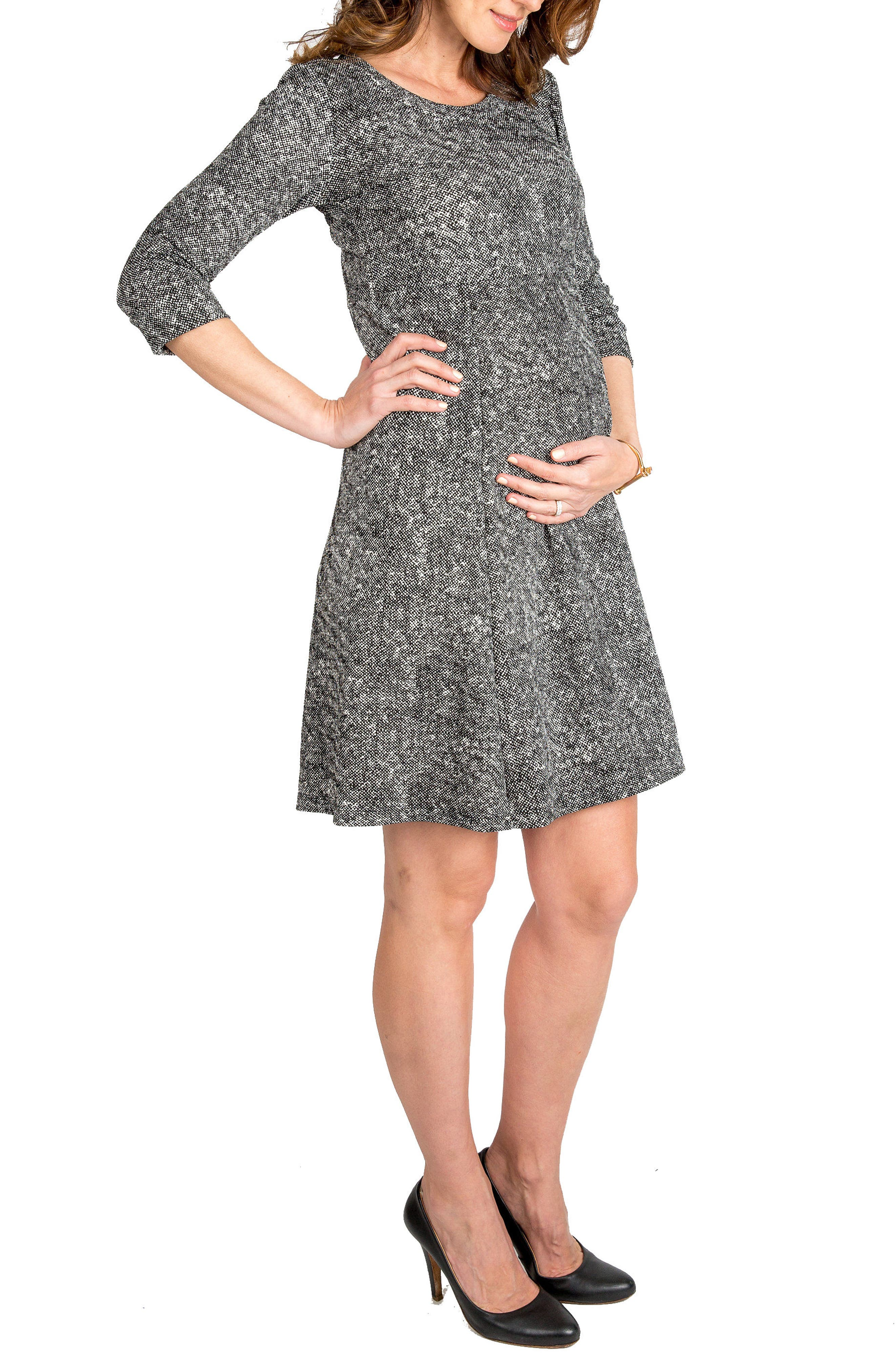 NOM Jack Maternity Dress,                         Main,                         color, Tweed