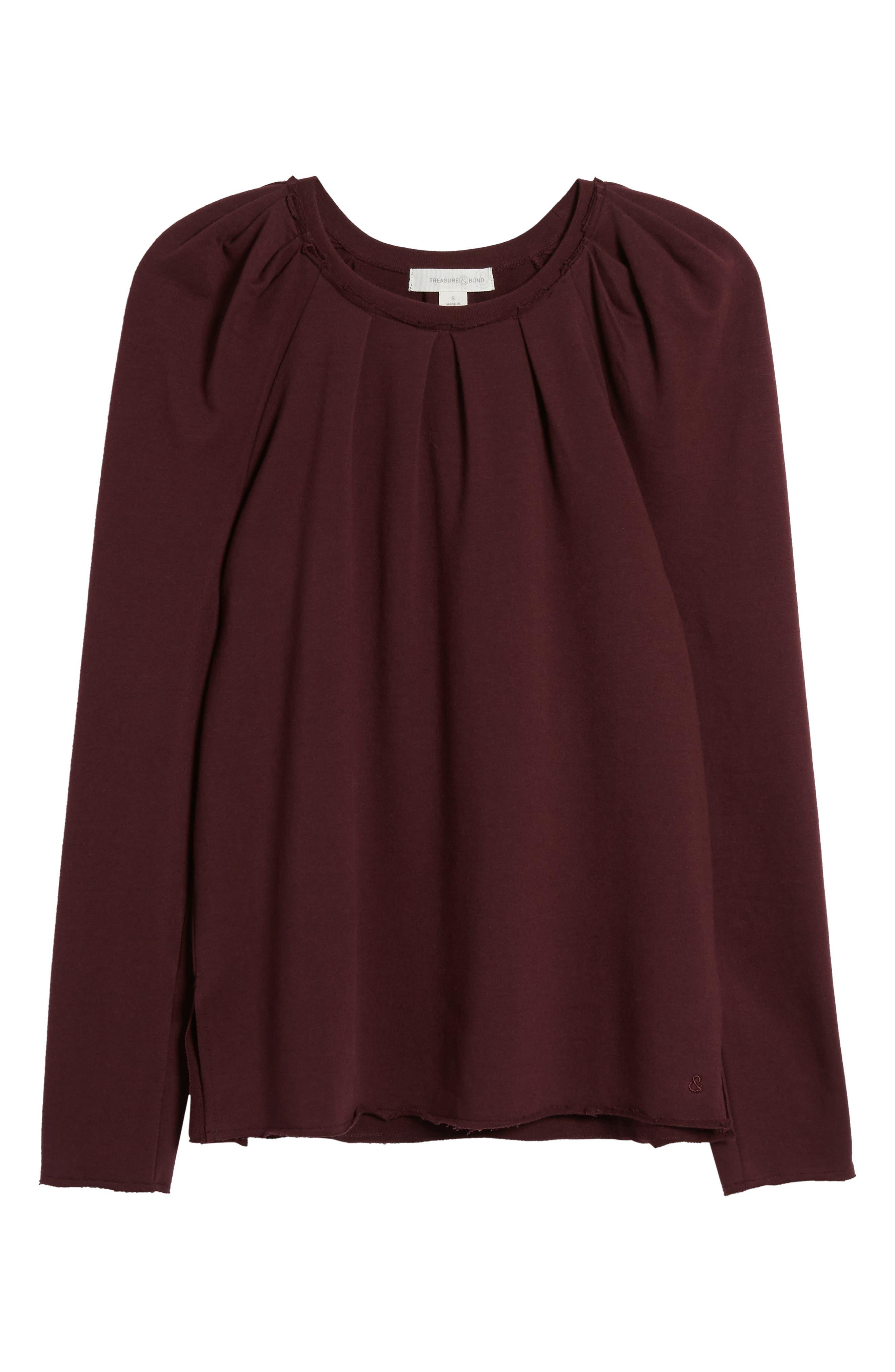 Pleated Knit Top,                             Alternate thumbnail 6, color,                             Burgundy Stem