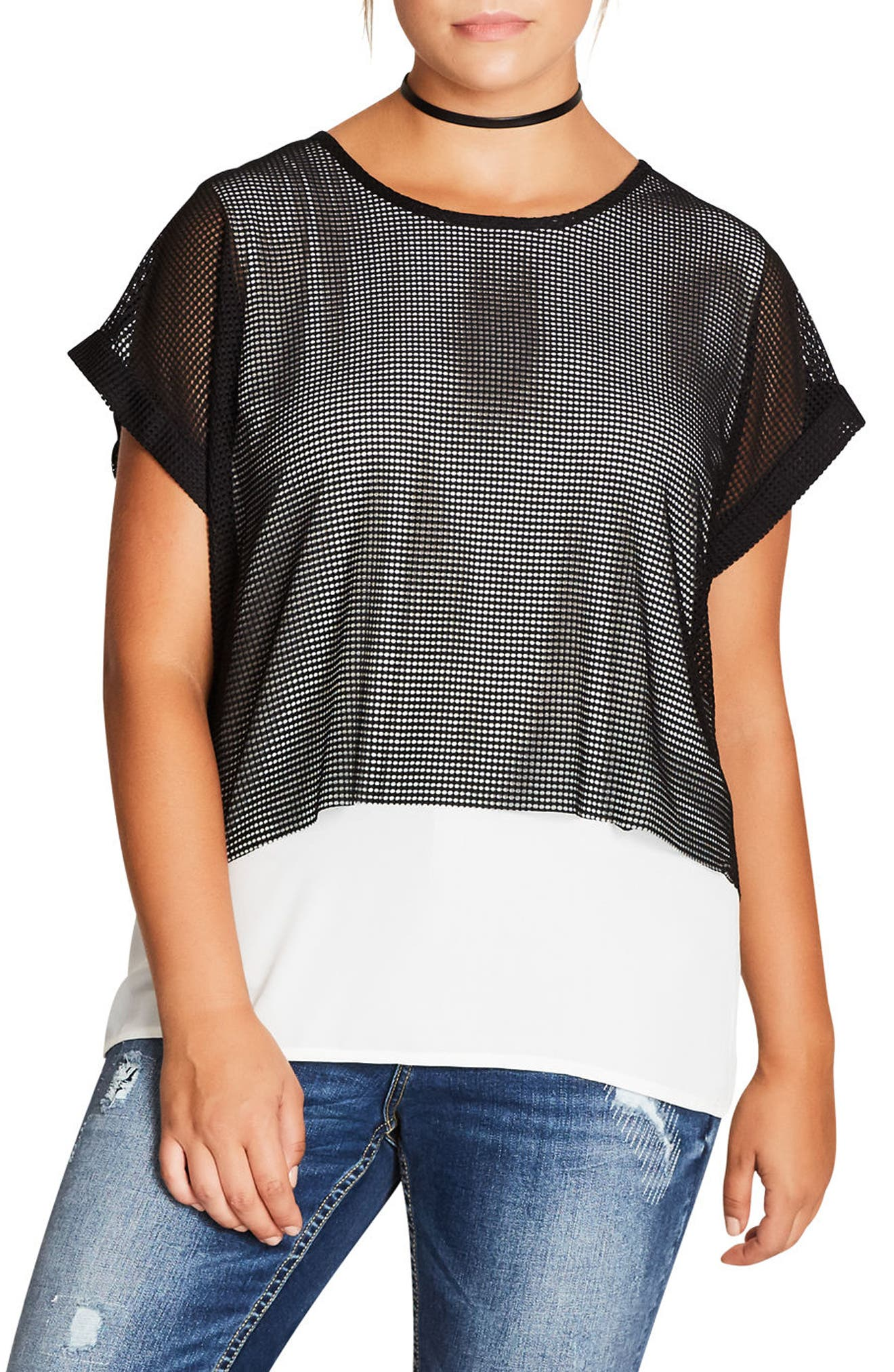 Alternate Image 1 Selected - City Chic Mesh Contrast Top (Plus Size)