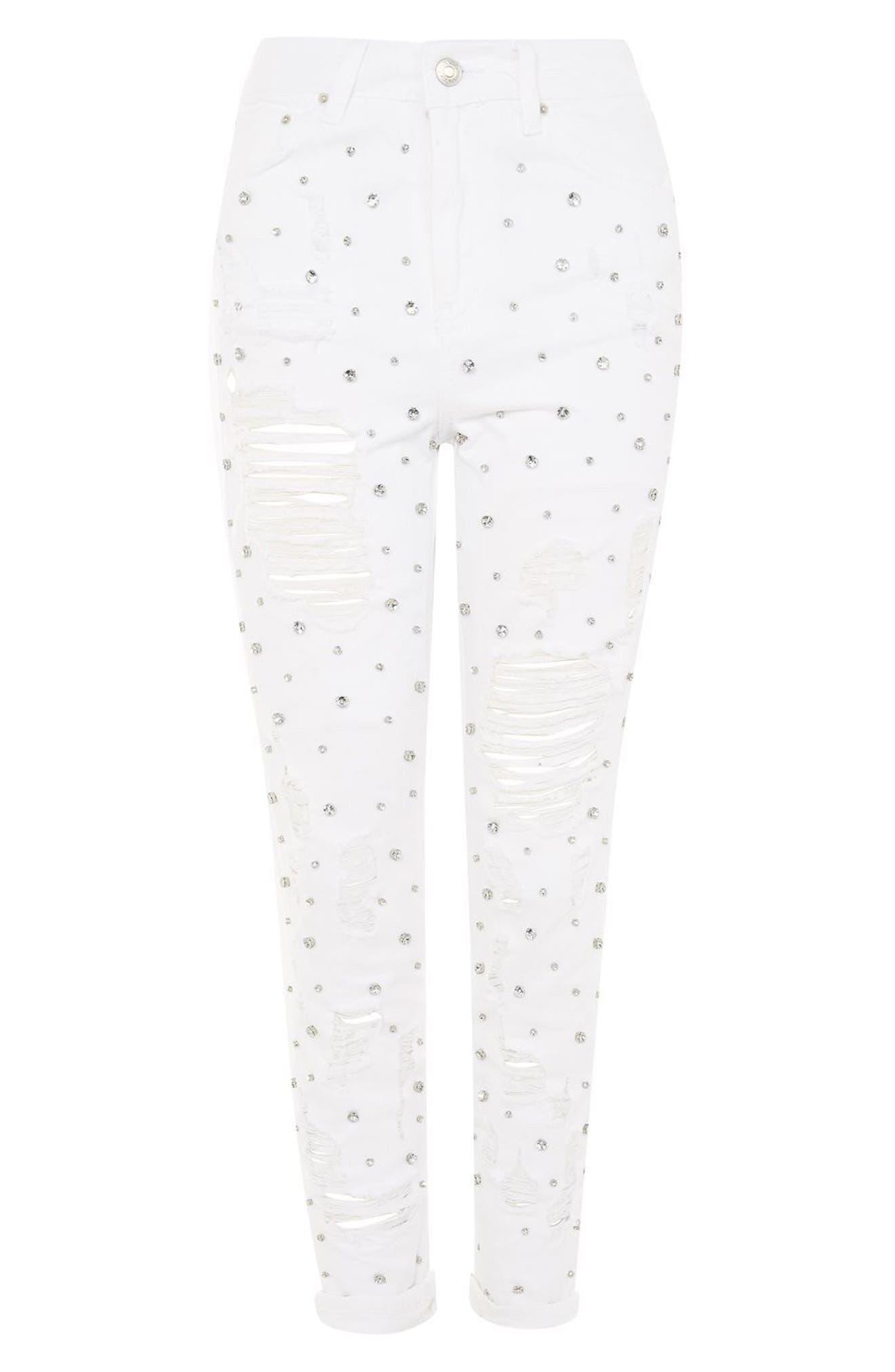 Alternate Image 4  - Topshop Super Rip Gemstone Mom Jeans