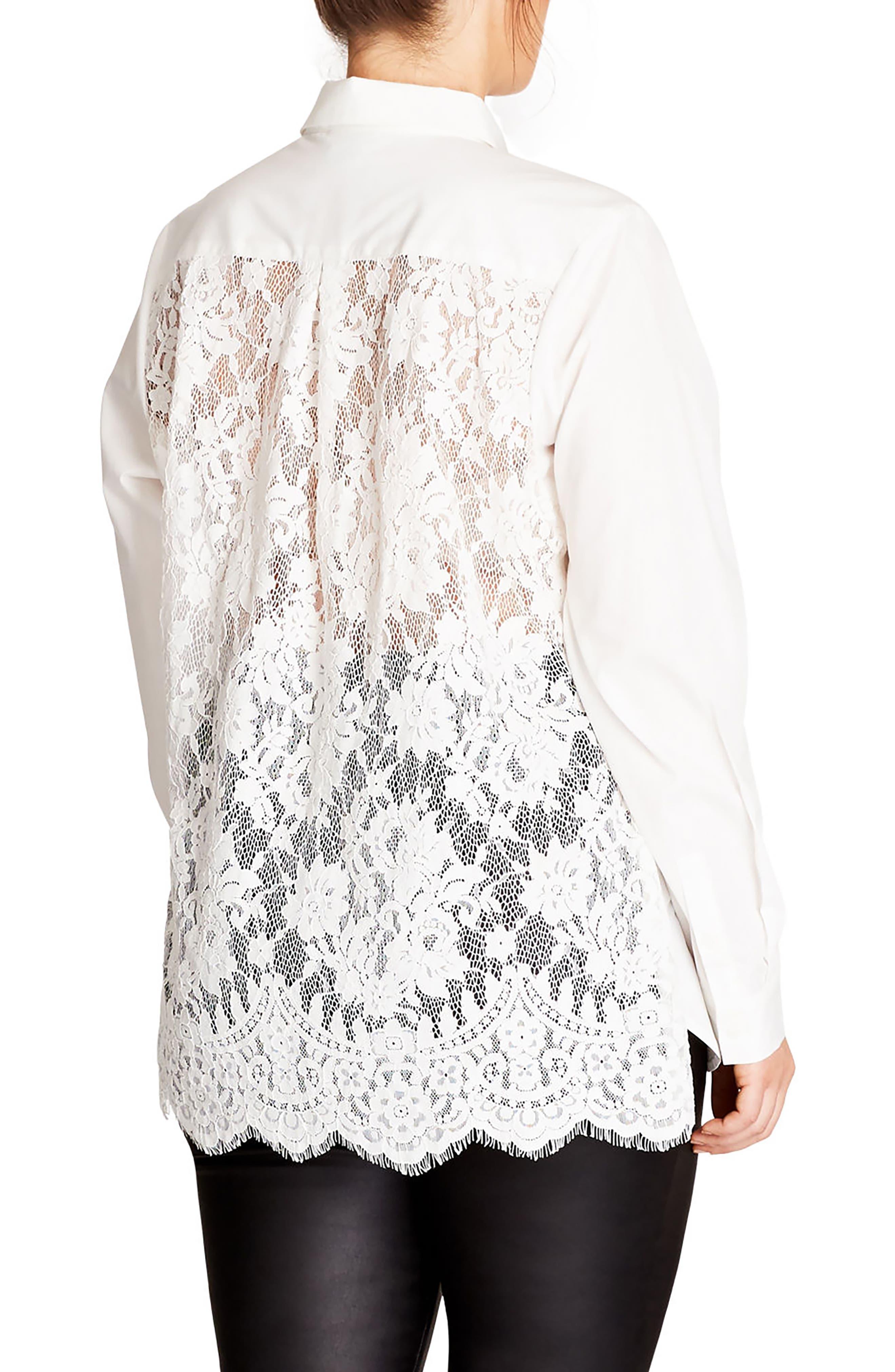Alternate Image 2  - City Chic Crisp Lace Back Shirt (Plus Size)