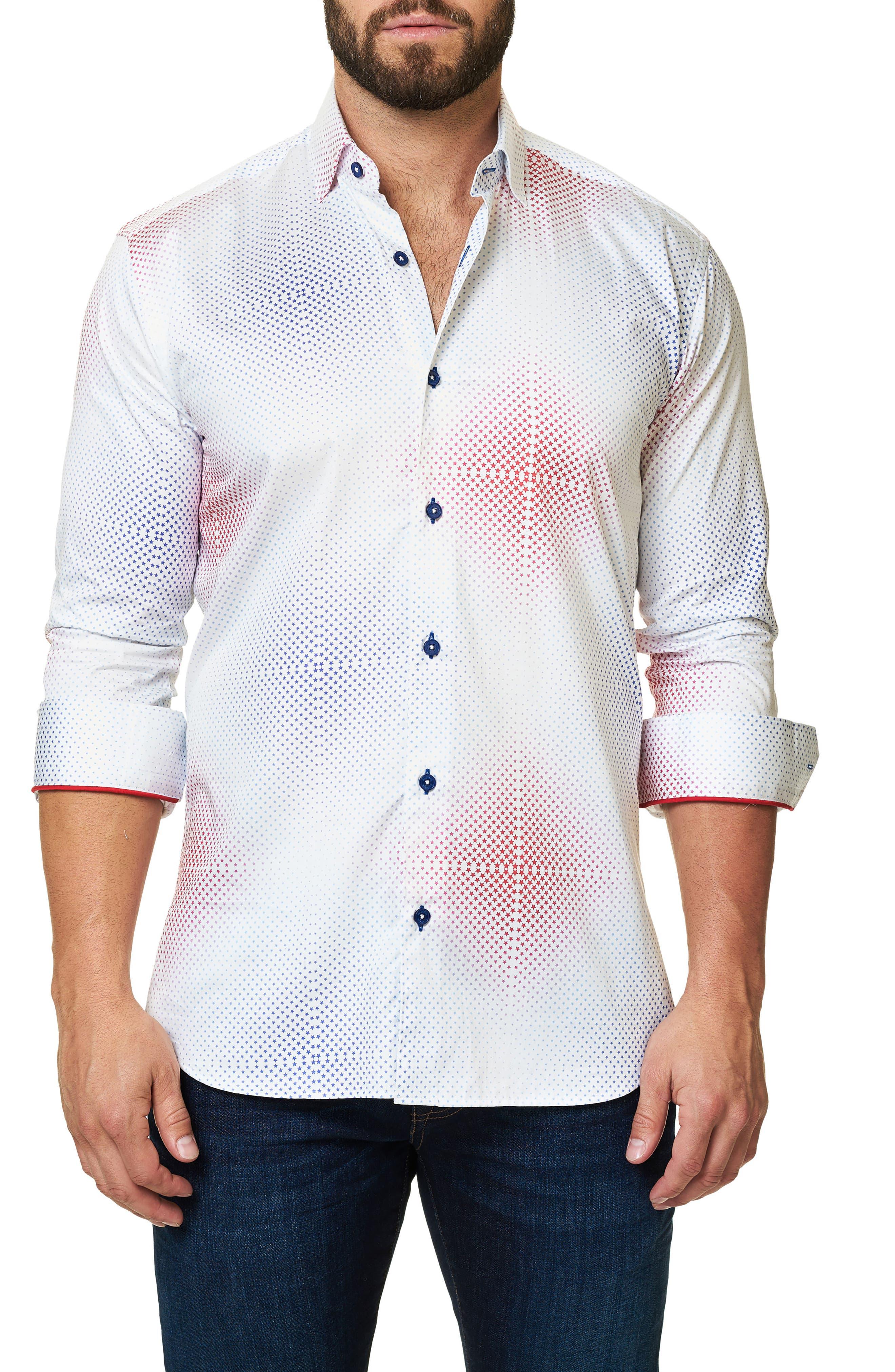 Trim Fit Ombré Star Sport Shirt,                         Main,                         color, White