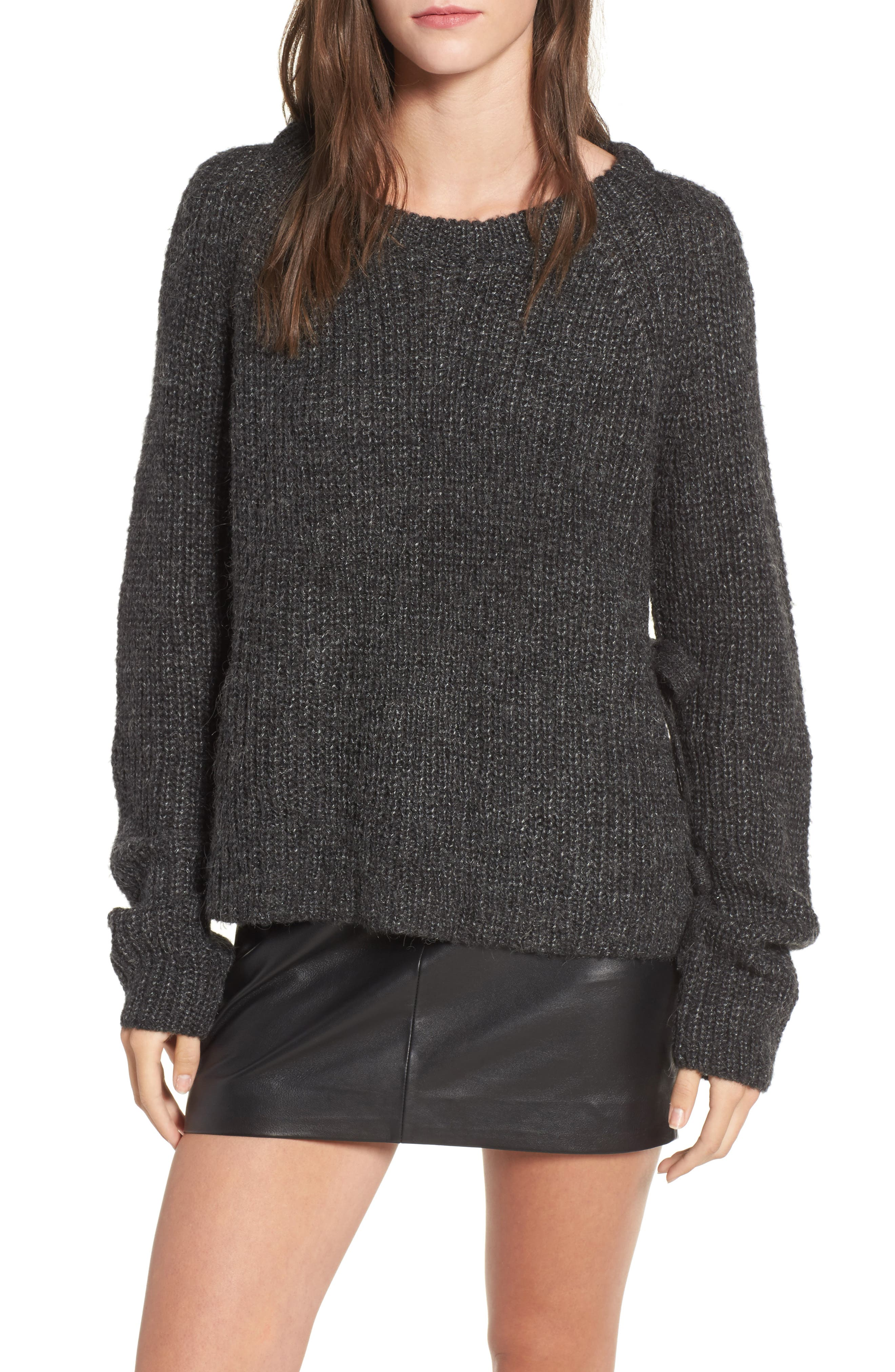 Lexie Side Tie Sweater,                         Main,                         color, Charcoal