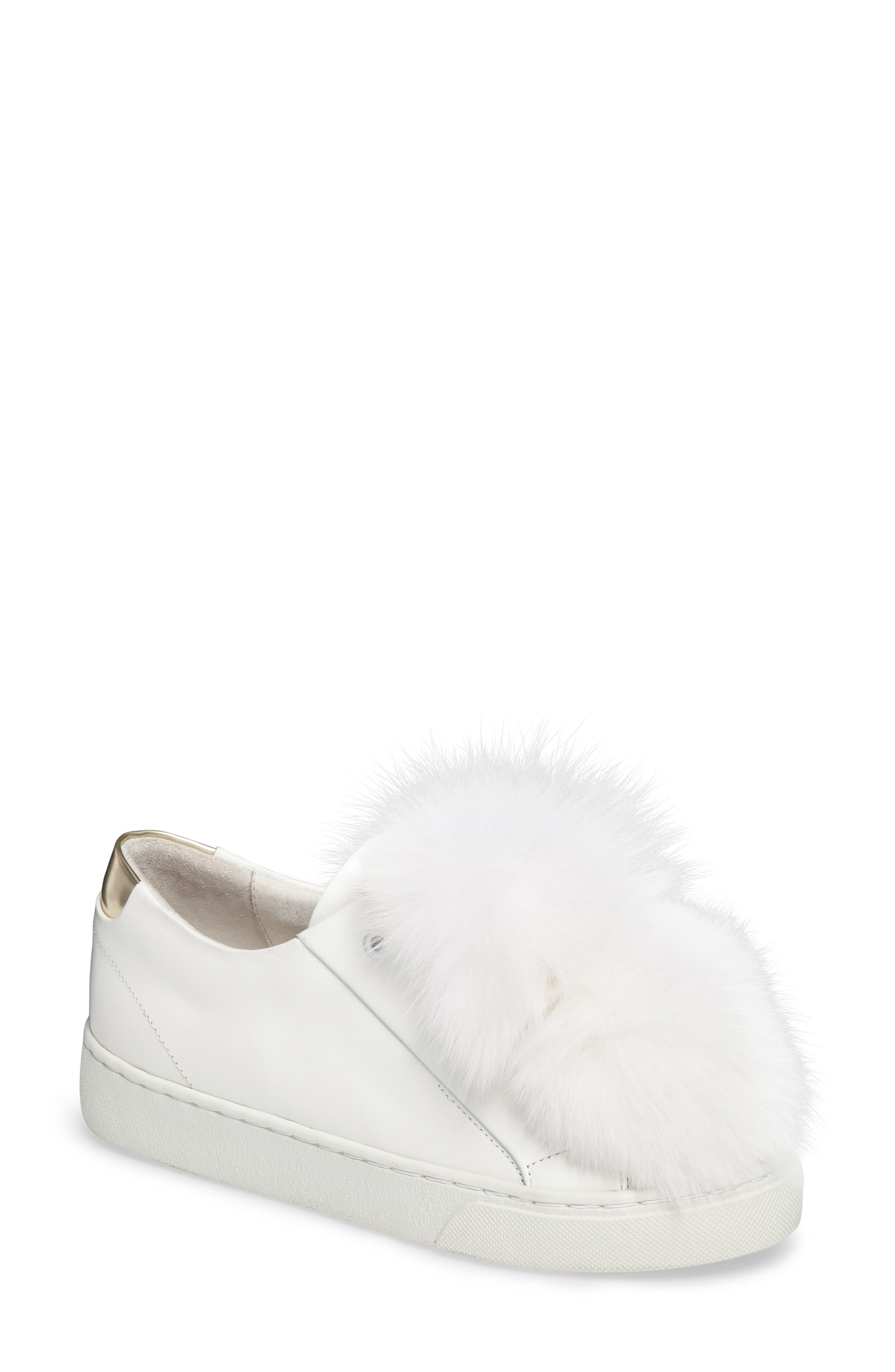 Sugar Genuine Fox Fur Slip-On Sneaker,                         Main,                         color, White Leather