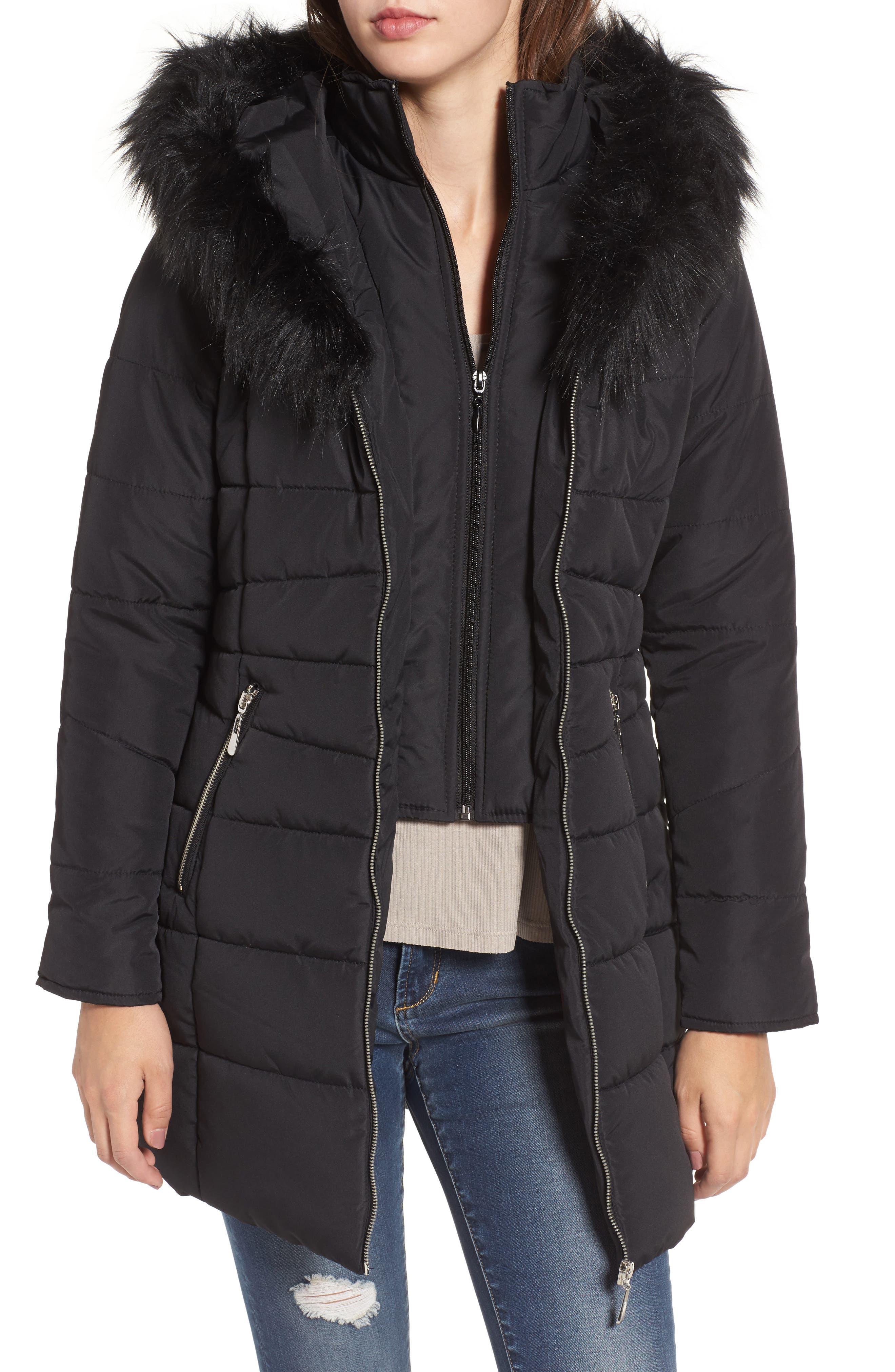 Faux Fur Collar Quilted Walker Coat,                             Alternate thumbnail 4, color,                             Black