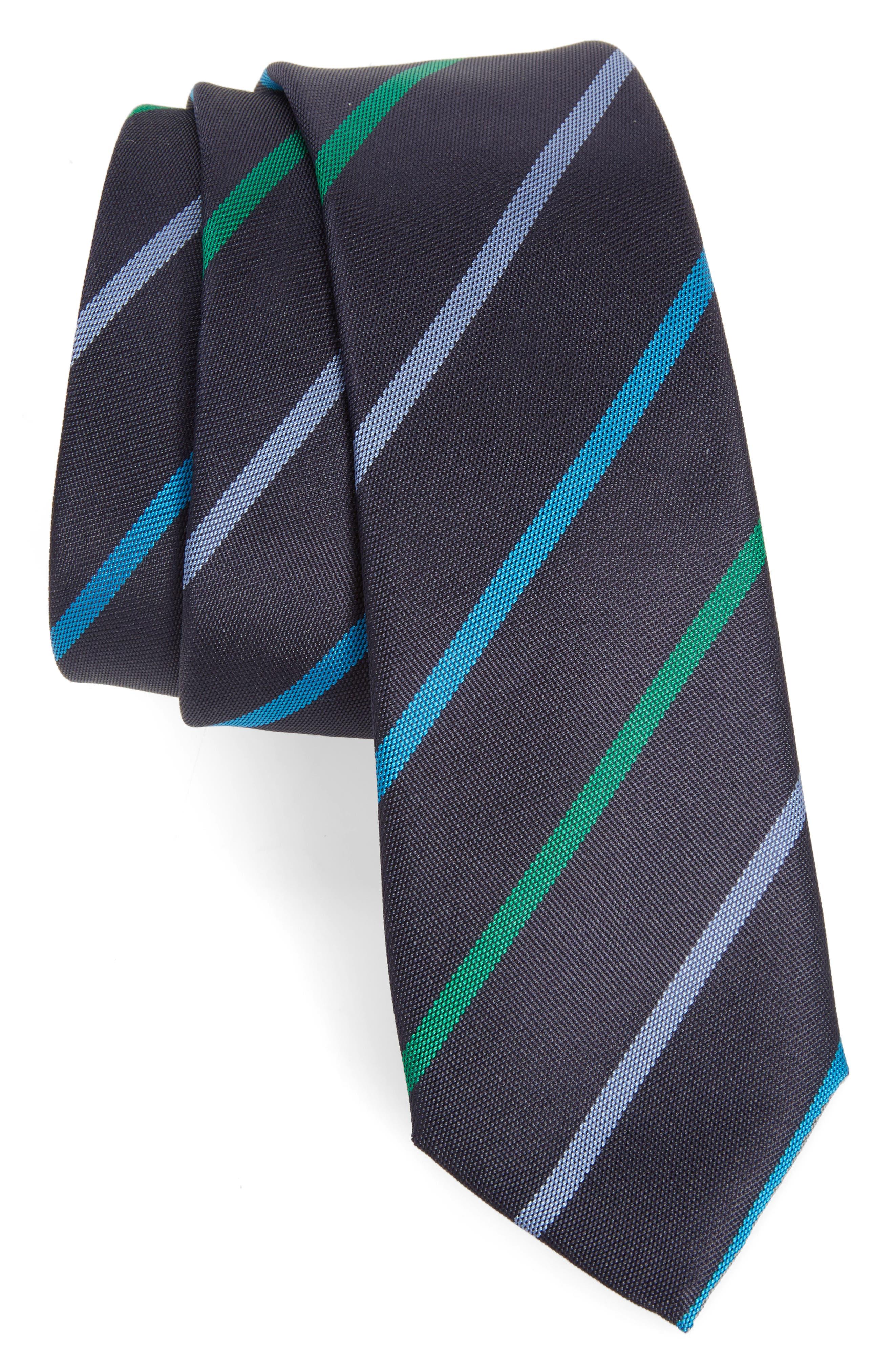 Stripe Silk Skinny Tie,                         Main,                         color, Navy