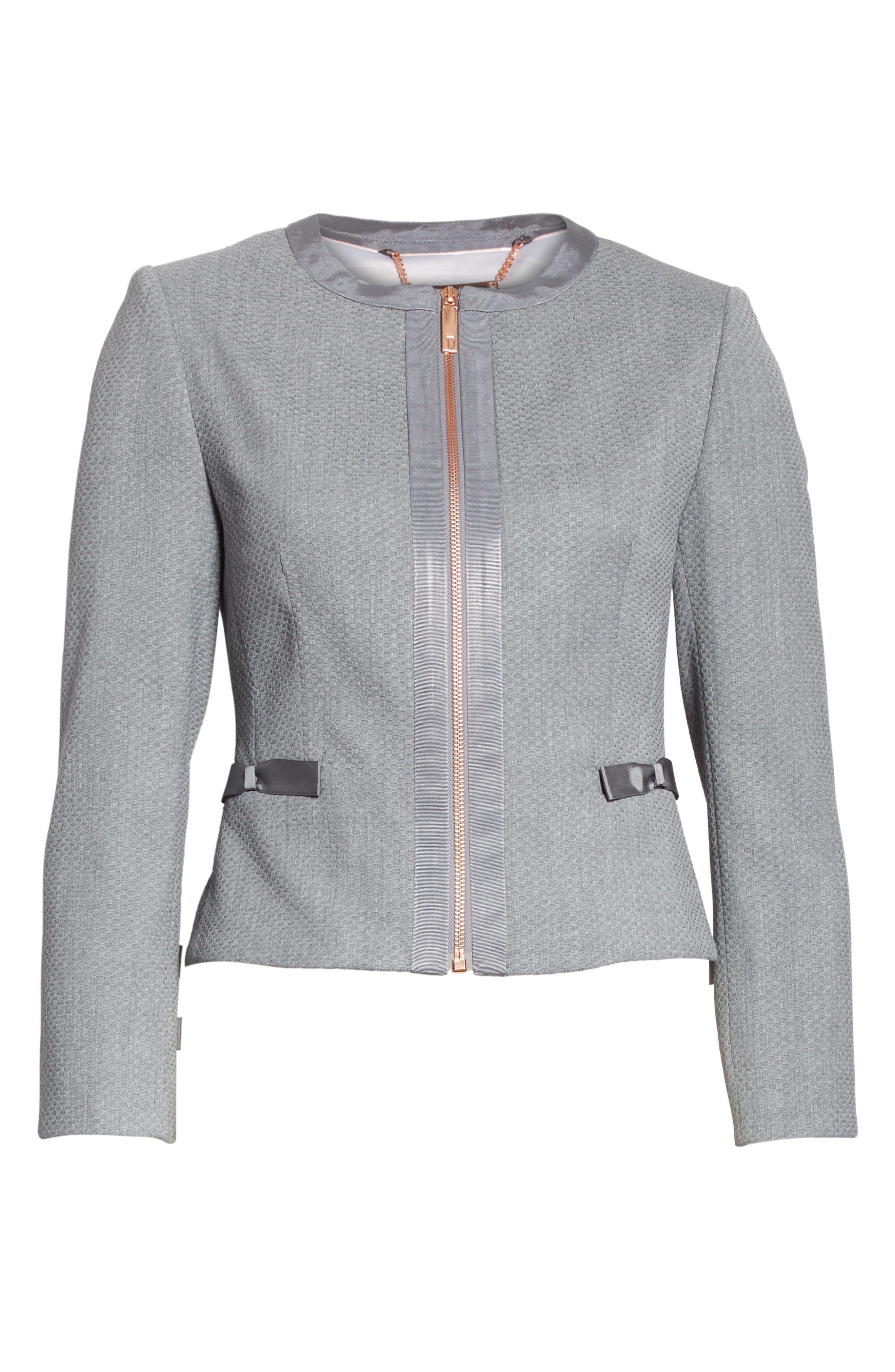 Nadae Bow Detail Crop Jacket,                             Alternate thumbnail 6, color,                             Mid Grey