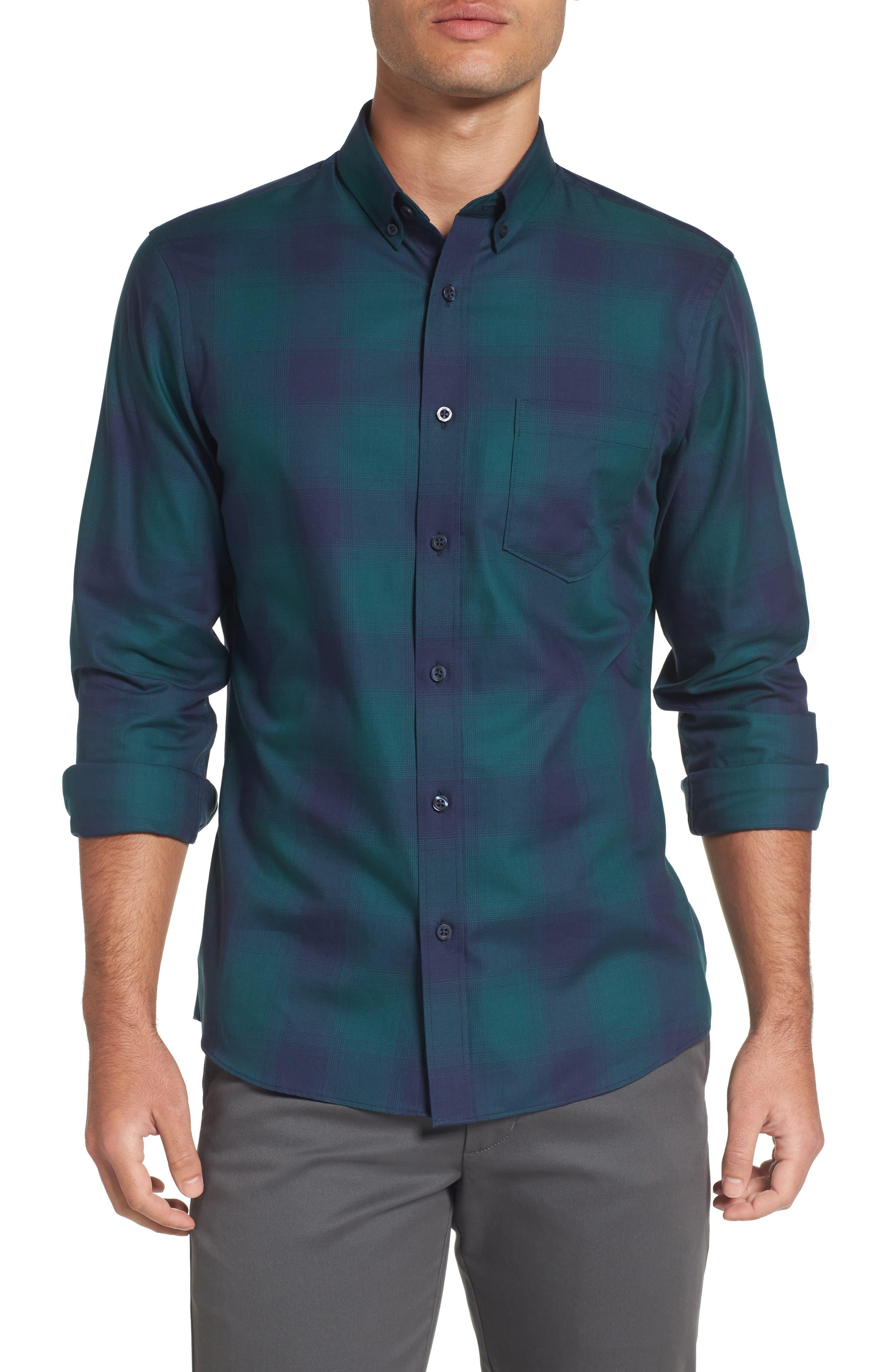 Slim Fit Check Sport Shirt,                         Main,                         color, Green Bug Ombre Plaid