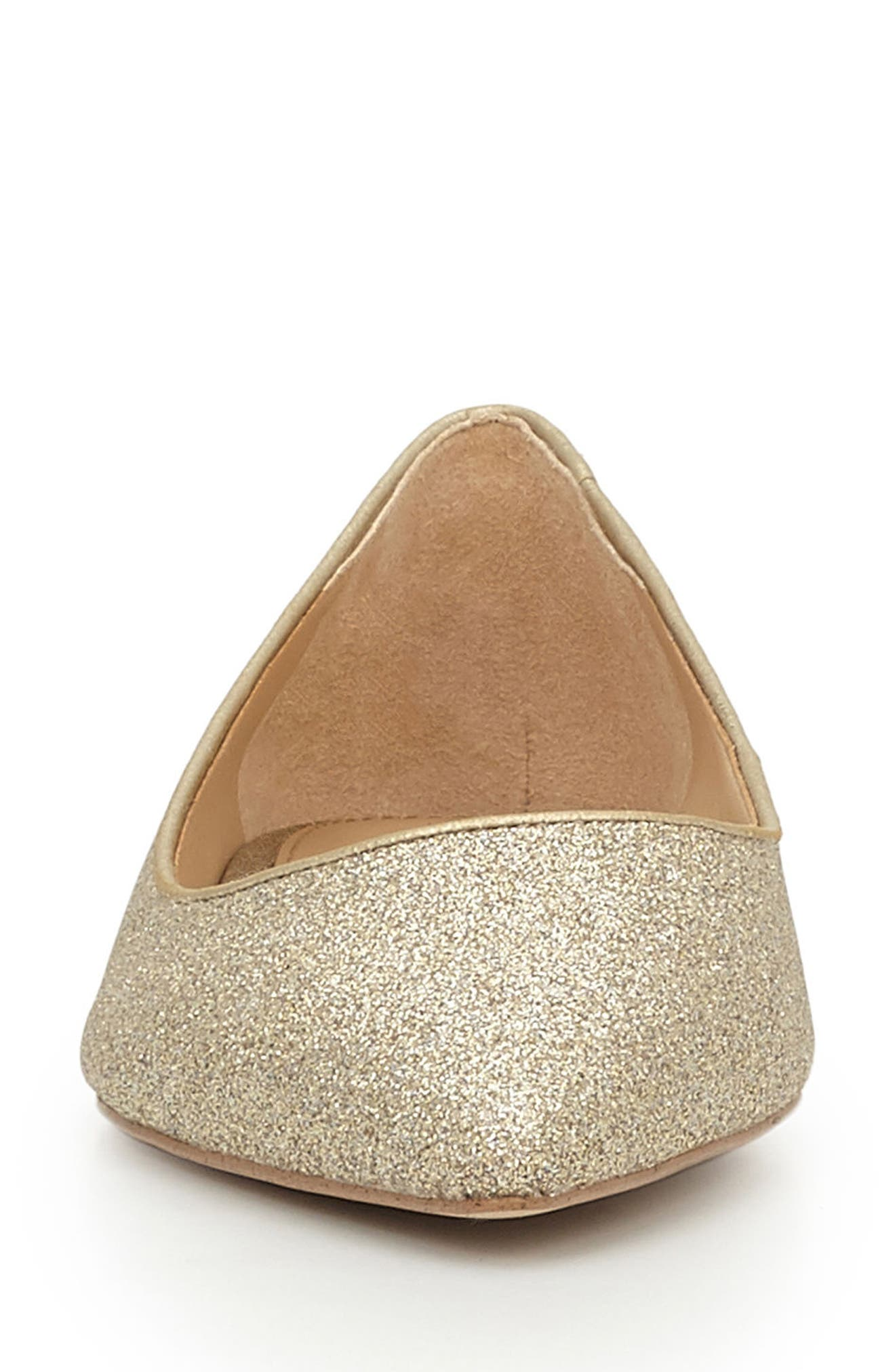 Rae Pointy Toe Flat,                             Alternate thumbnail 3, color,                             Gold Glitter