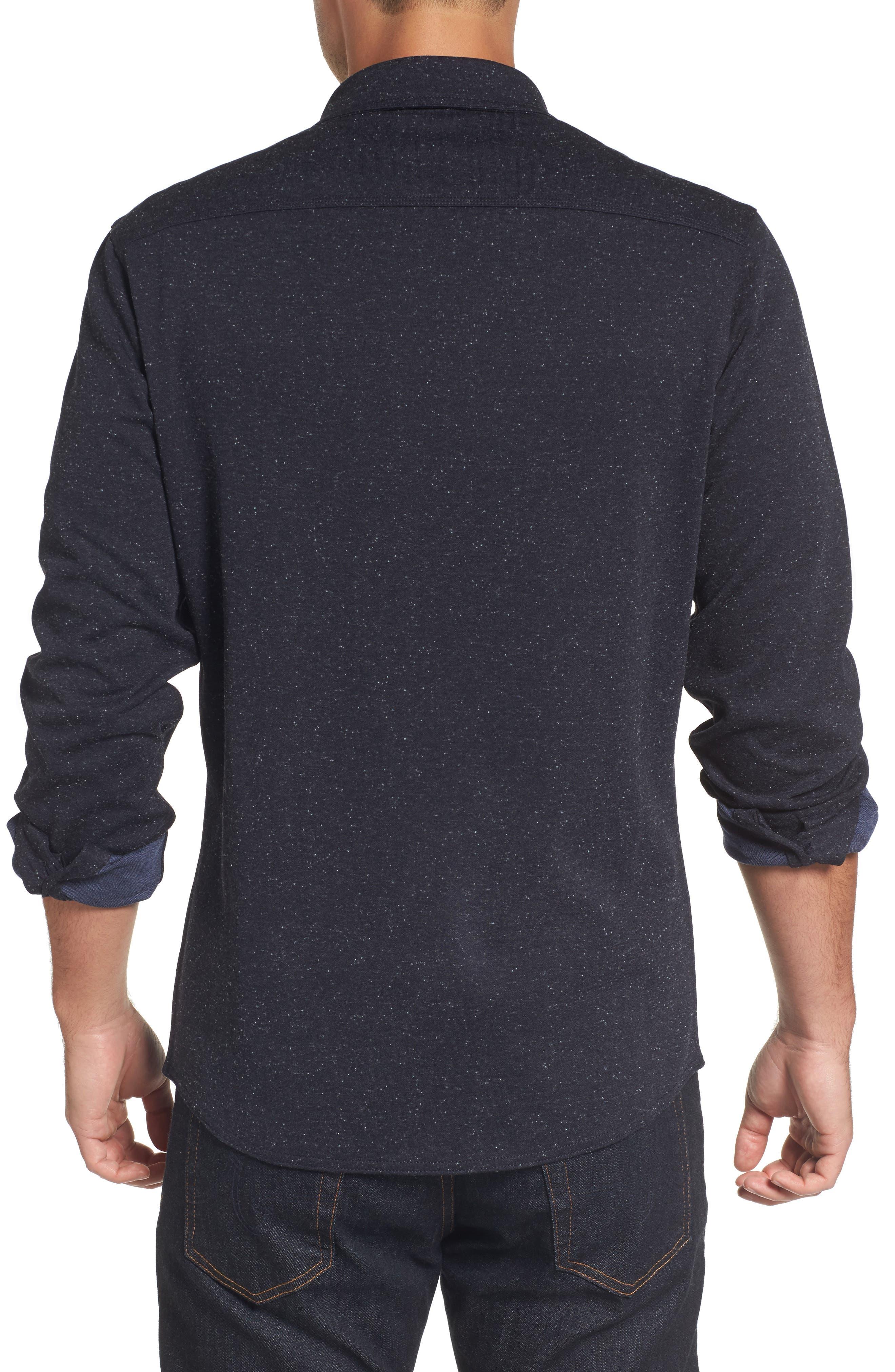 Knit Sport Shirt,                             Alternate thumbnail 2, color,                             Navy Iris Nep