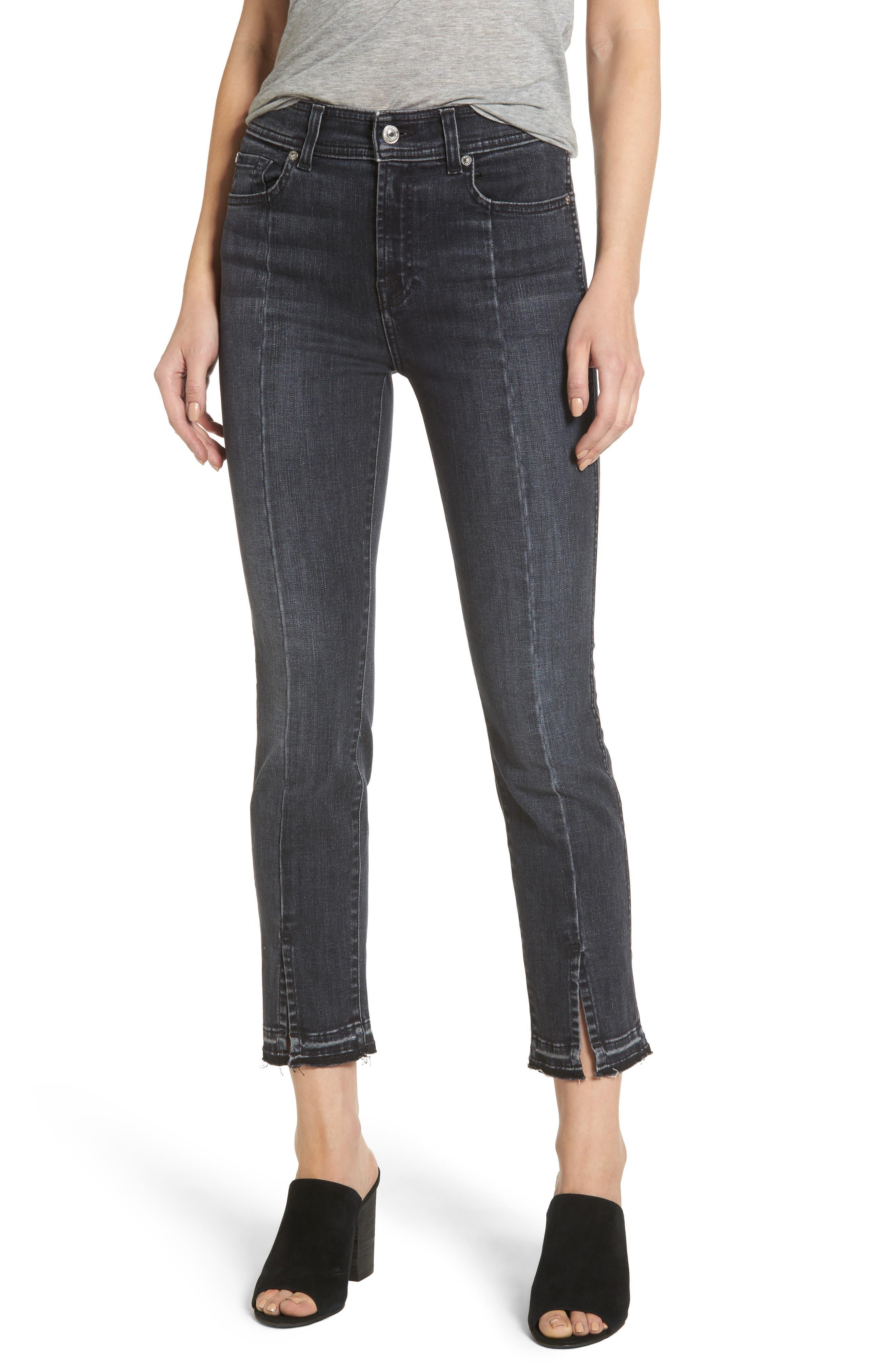 Main Image - 7 For All Mankind® Split Hem Ankle Skinny Jeans (Vintage Noir)