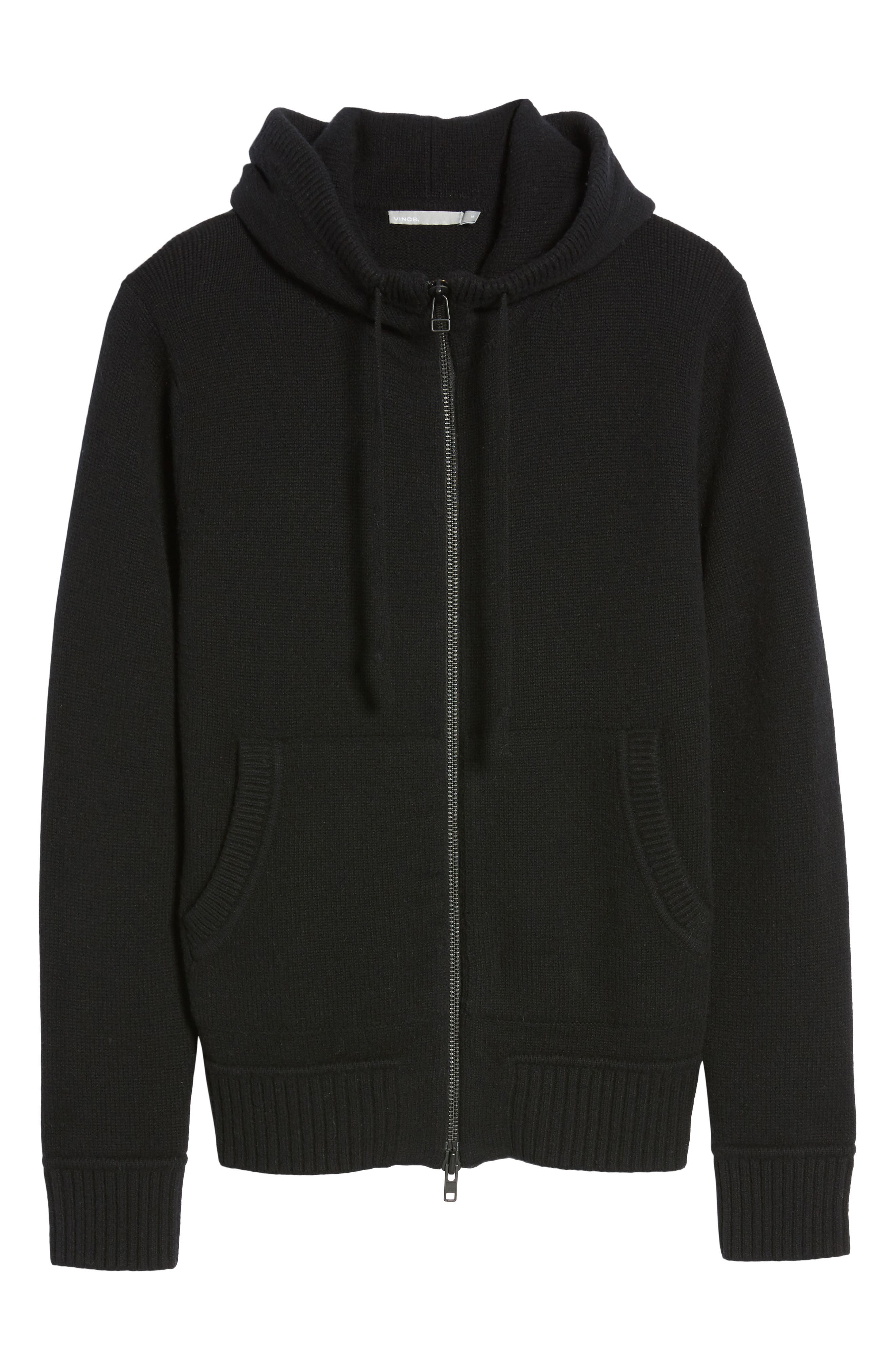 Front Zip Wool & Cashmere Hoodie,                             Alternate thumbnail 5, color,                             Black