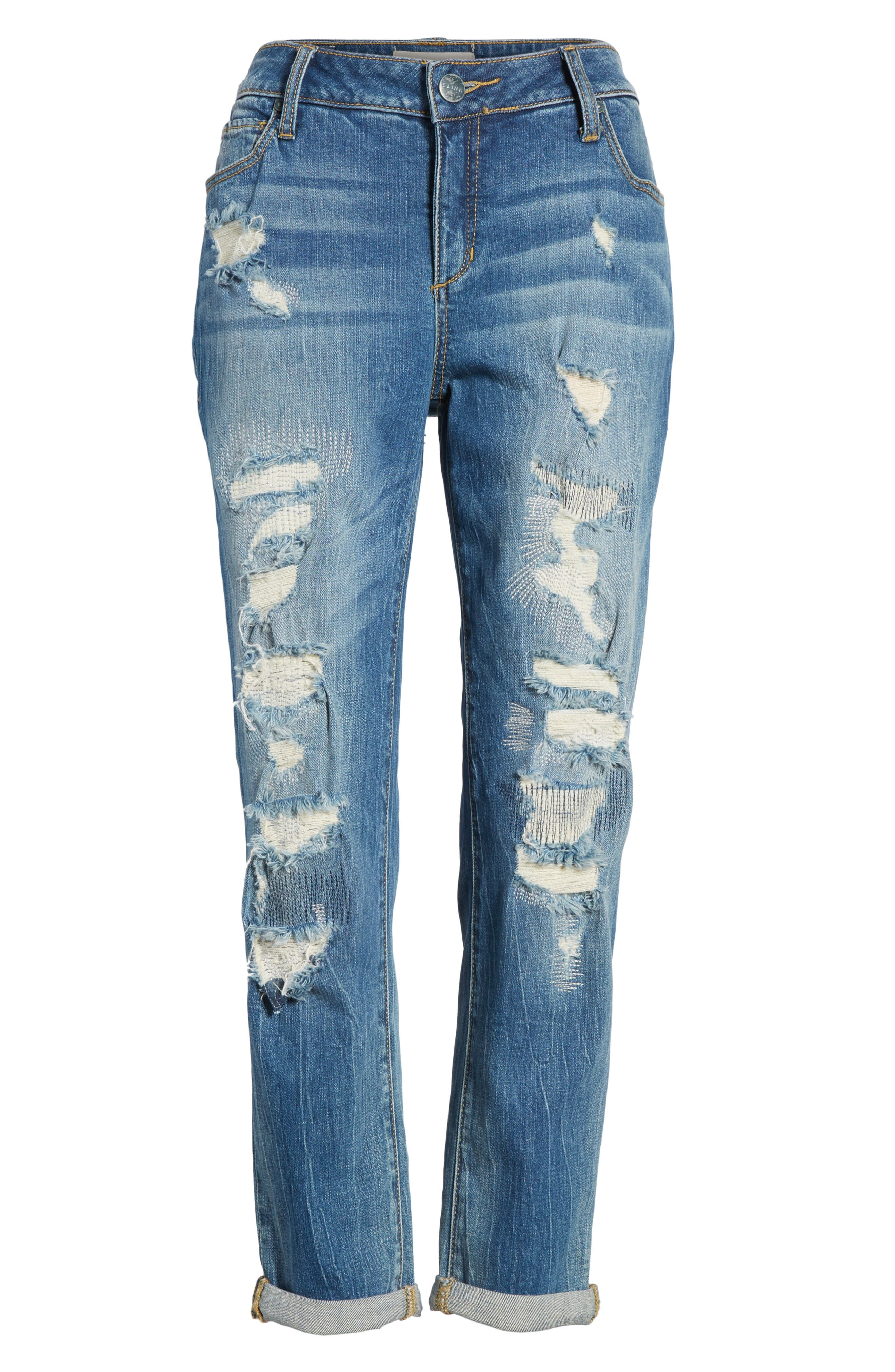 Distressed Ankle Boyfriend Jeans,                             Alternate thumbnail 6, color,                             Chelsea