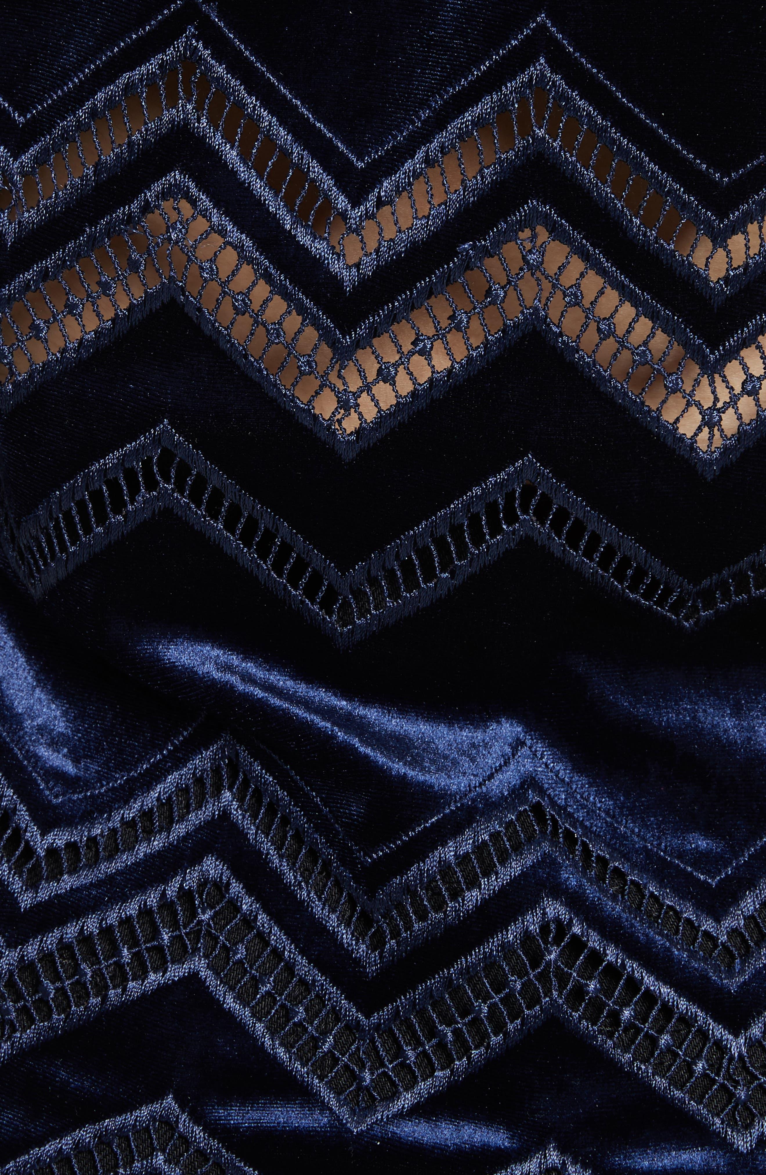 Zigzag Embroidered Velvet Top,                             Alternate thumbnail 5, color,                             Blue