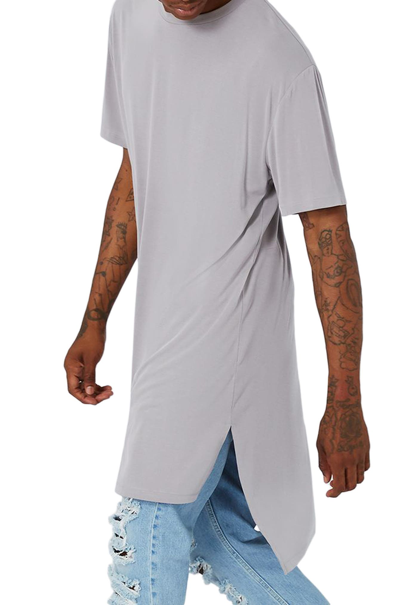 AAA Collection Longline T-Shirt,                         Main,                         color, Grey