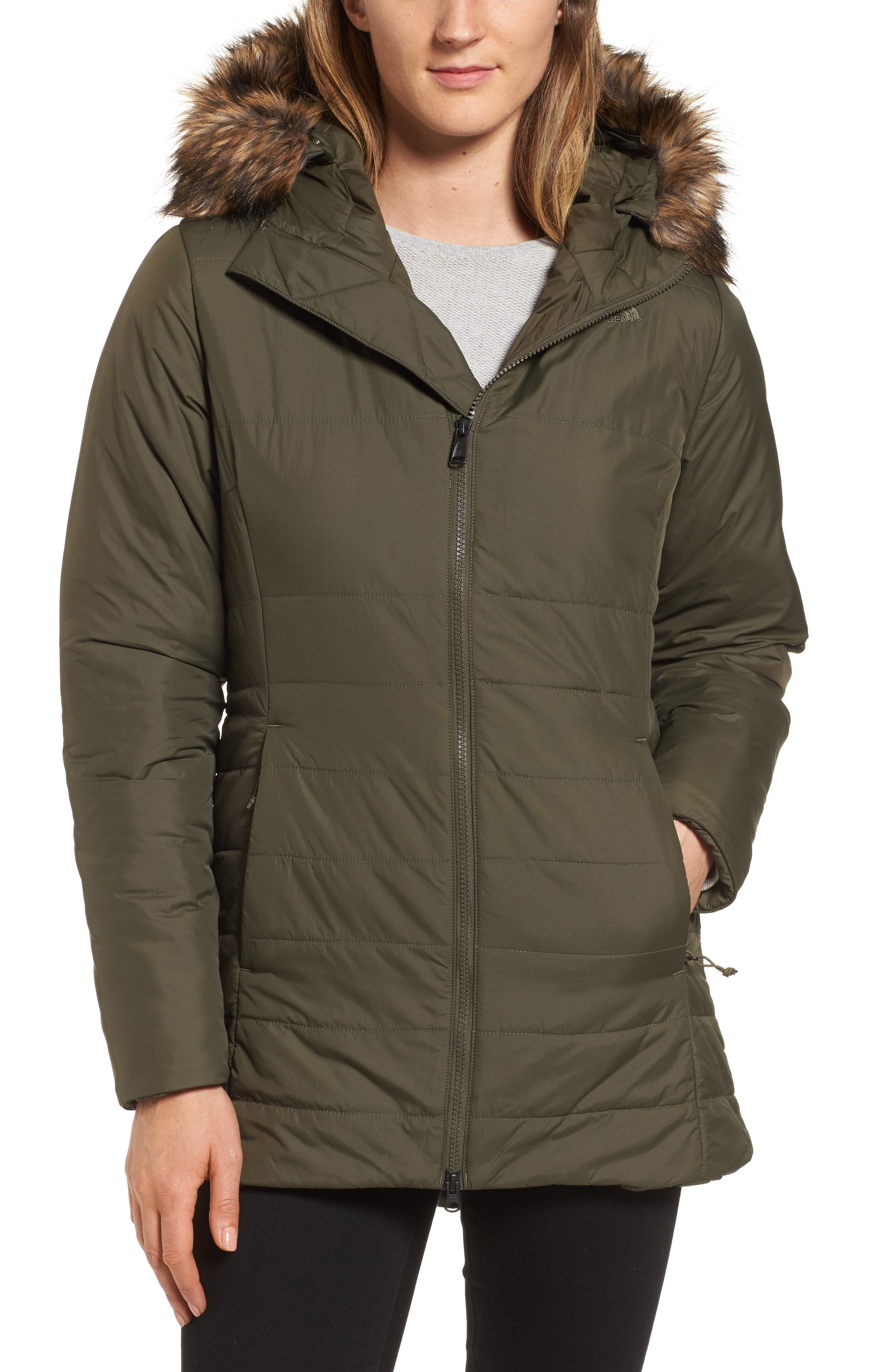 Harway Heatseeker<sup>™</sup> Water-Resistant Jacket with Faux Fur Trim,                         Main,                         color, New Taupe Green