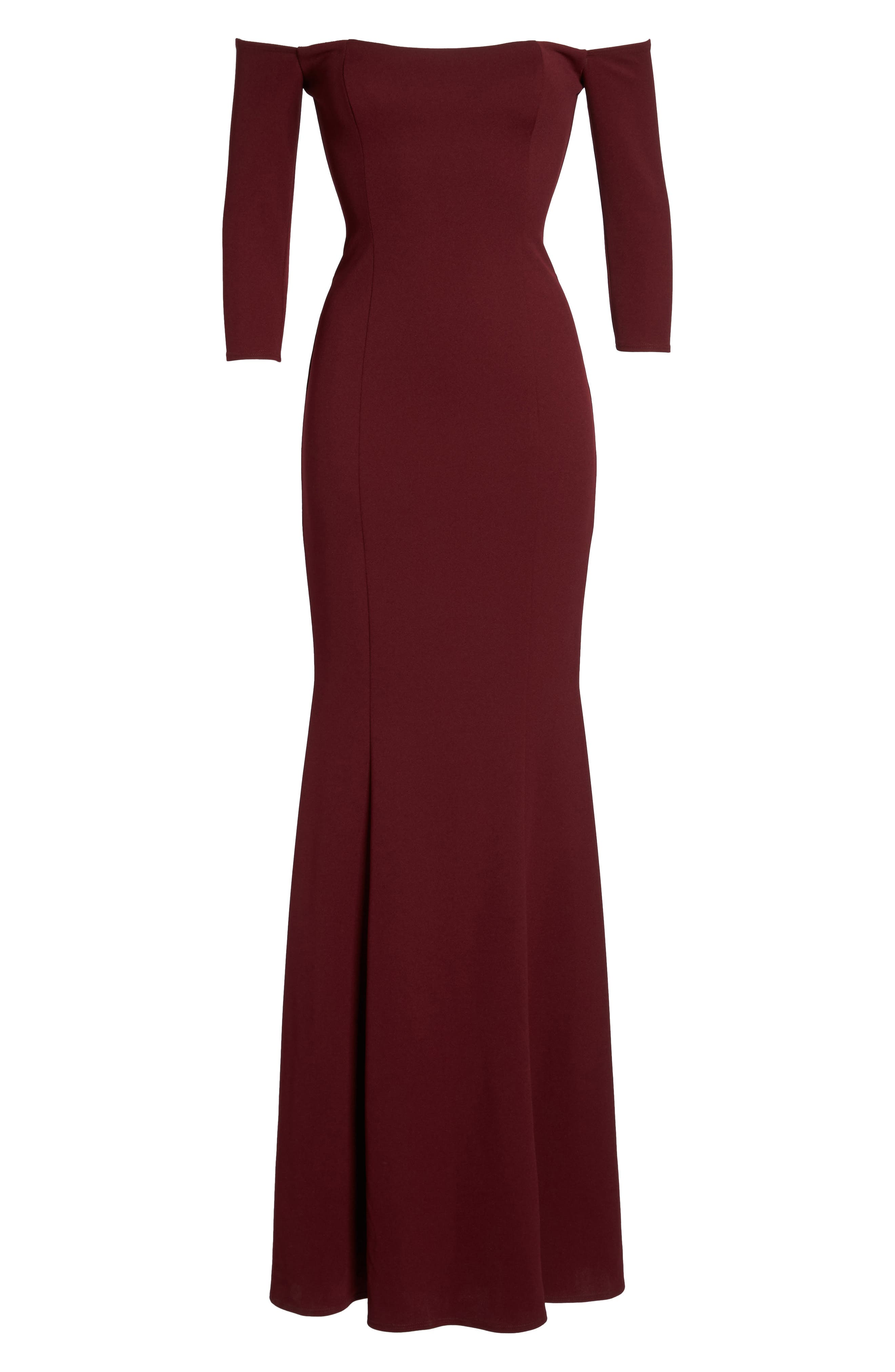 Brentwood Three-Quarter Sleeve Off the Shoulder Gown,                             Alternate thumbnail 7, color,                             Bordeaux