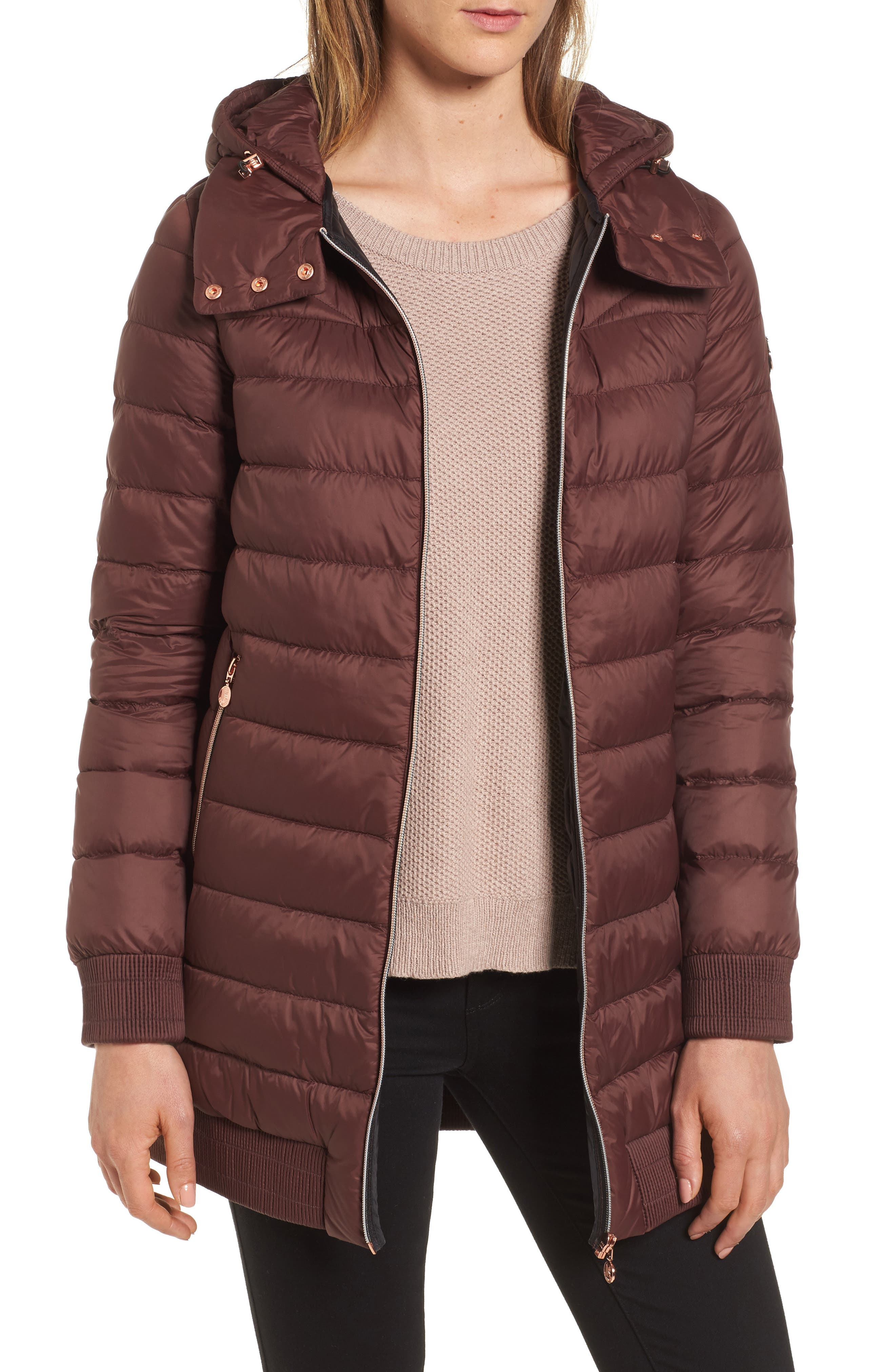 Hooded Packable Down & PrimaLoft<sup>®</sup> Coat,                         Main,                         color, Dark Cherry