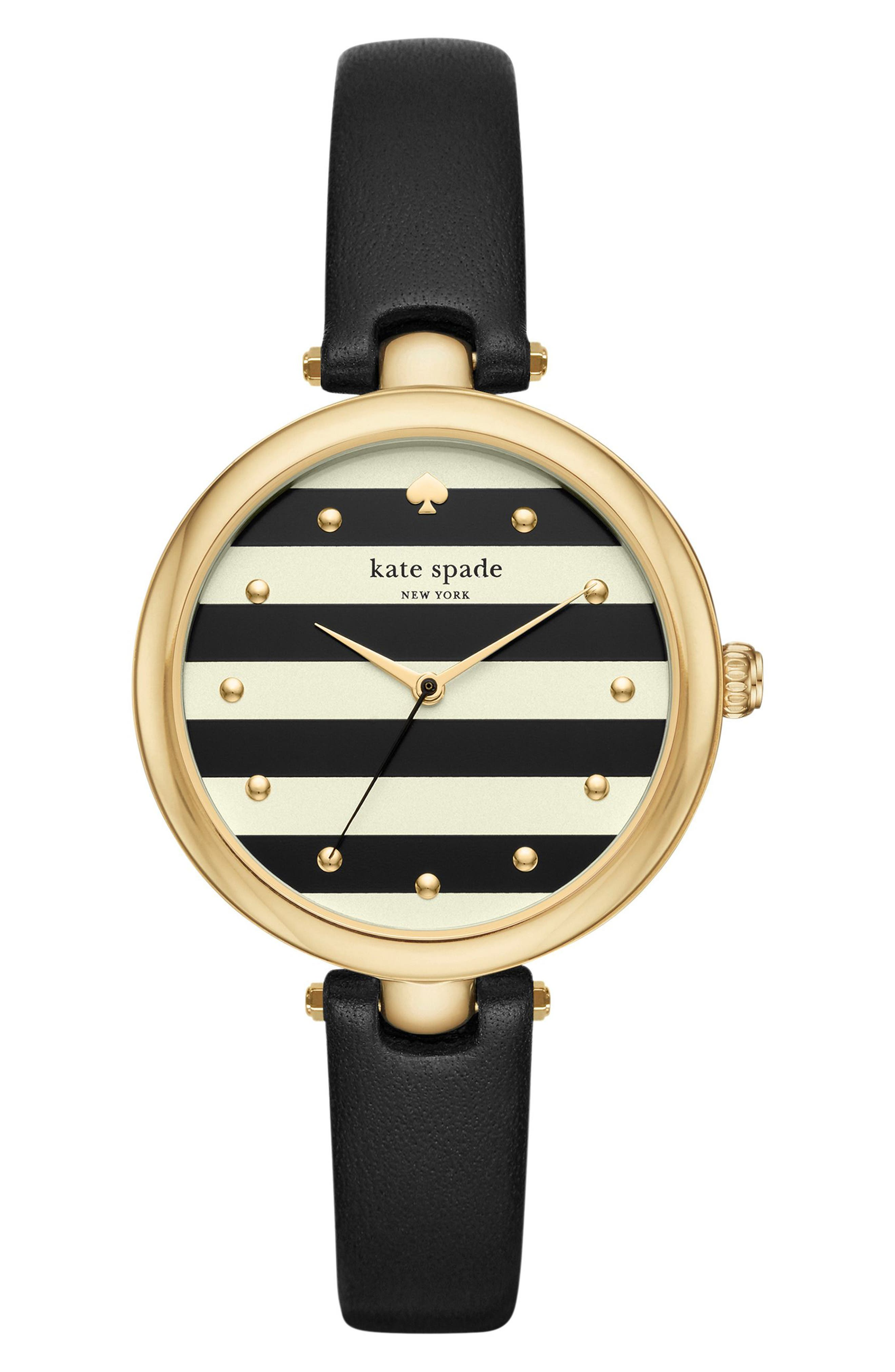 kate spade new york varick stripe leather strap watch, 36mm