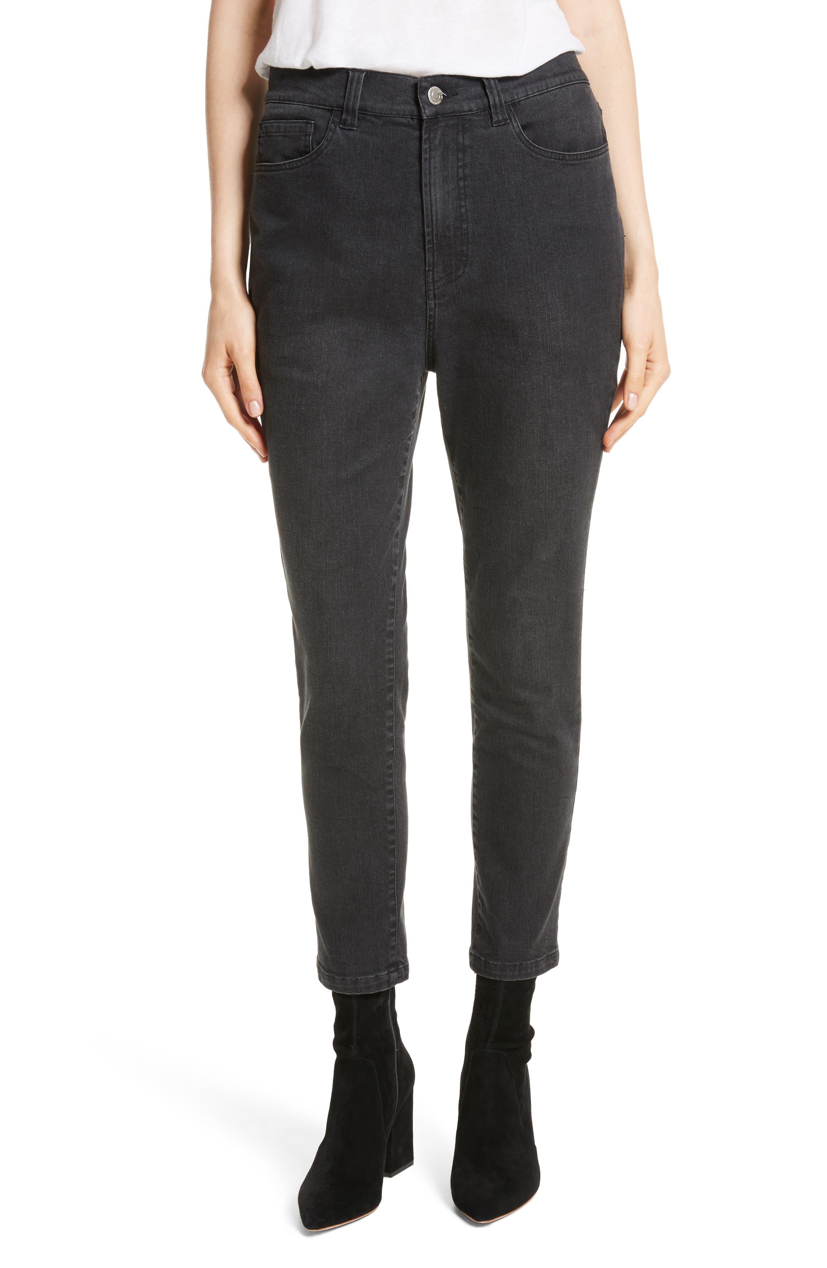 High Waist Slim Jeans,                         Main,                         color, Black Rinse