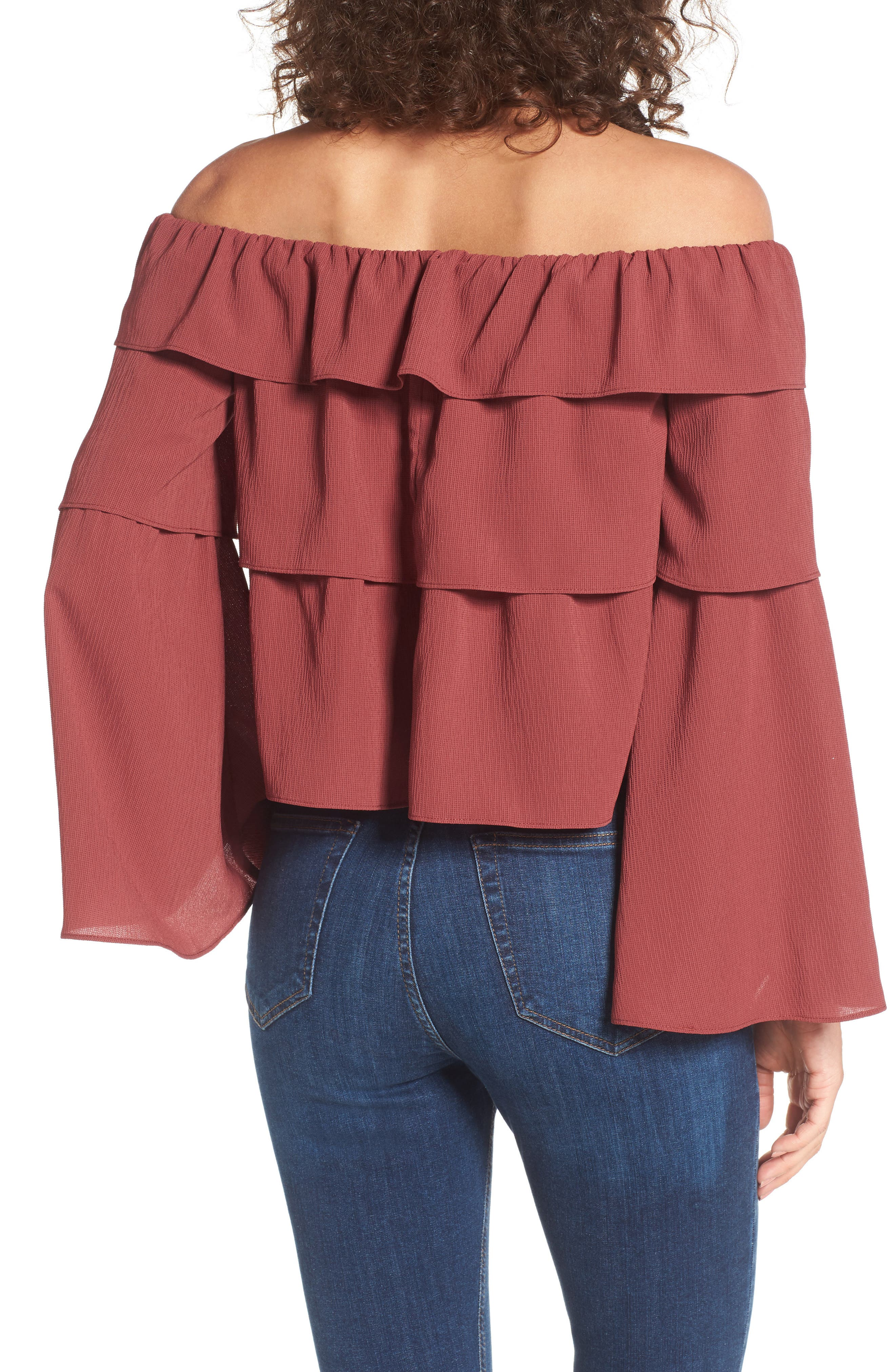 Ruffle Off the Shoulder Top,                             Alternate thumbnail 2, color,                             Rust